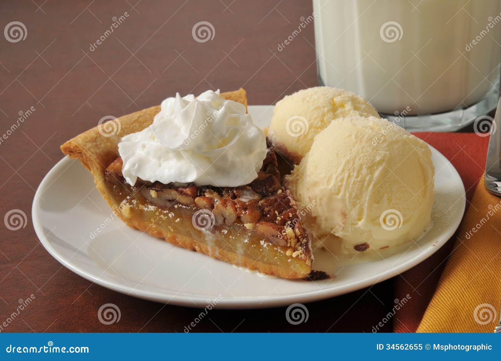 Pecan Pie stock image. Image of slice, milk, glass ...