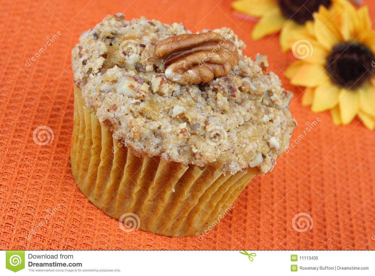 Pecan Pumpkin Muffin With Streusel Topping. Royalty Free Stock Photo ...