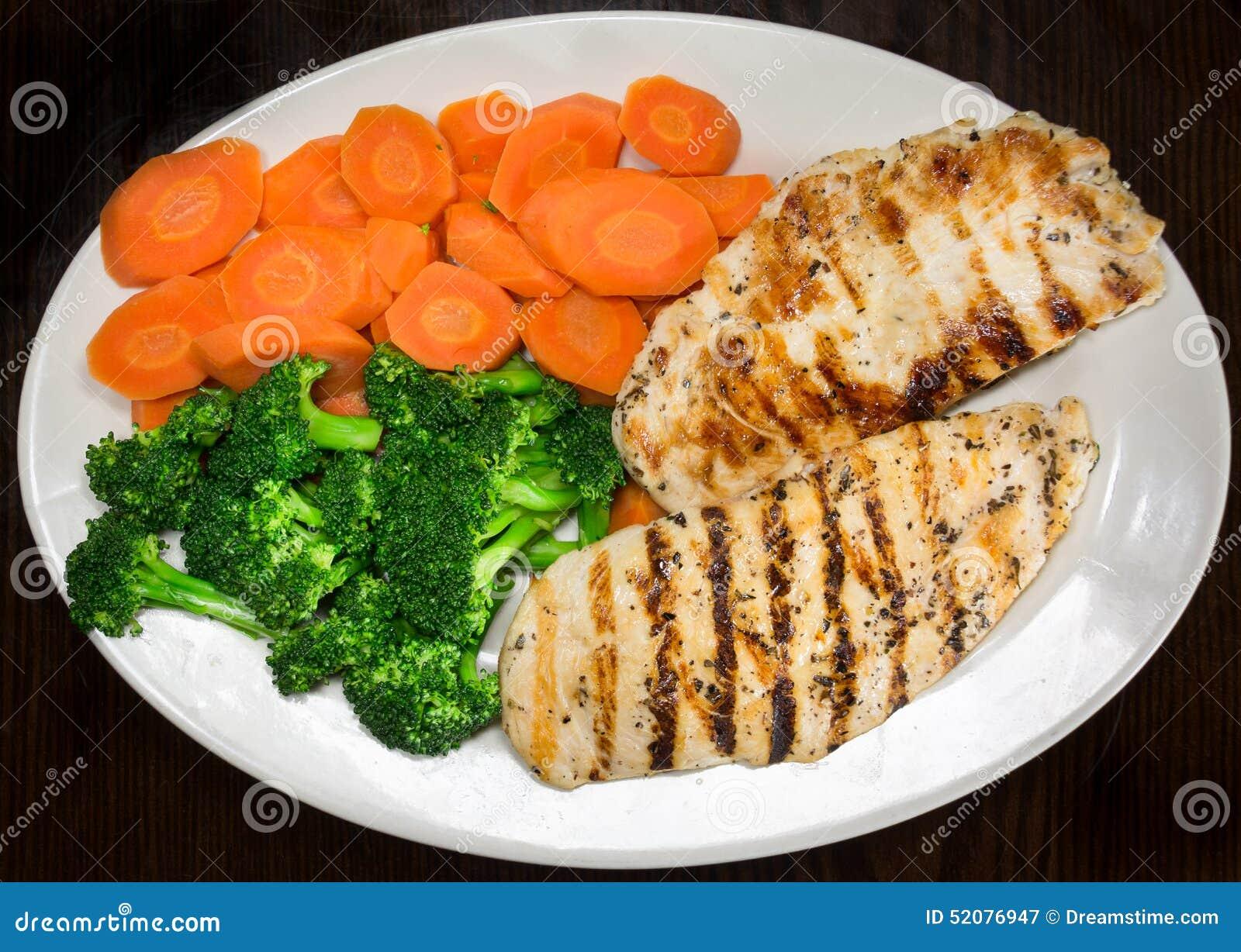 Pechuga de pollo, bróculi y zanahorias asados a la parrilla en una placa