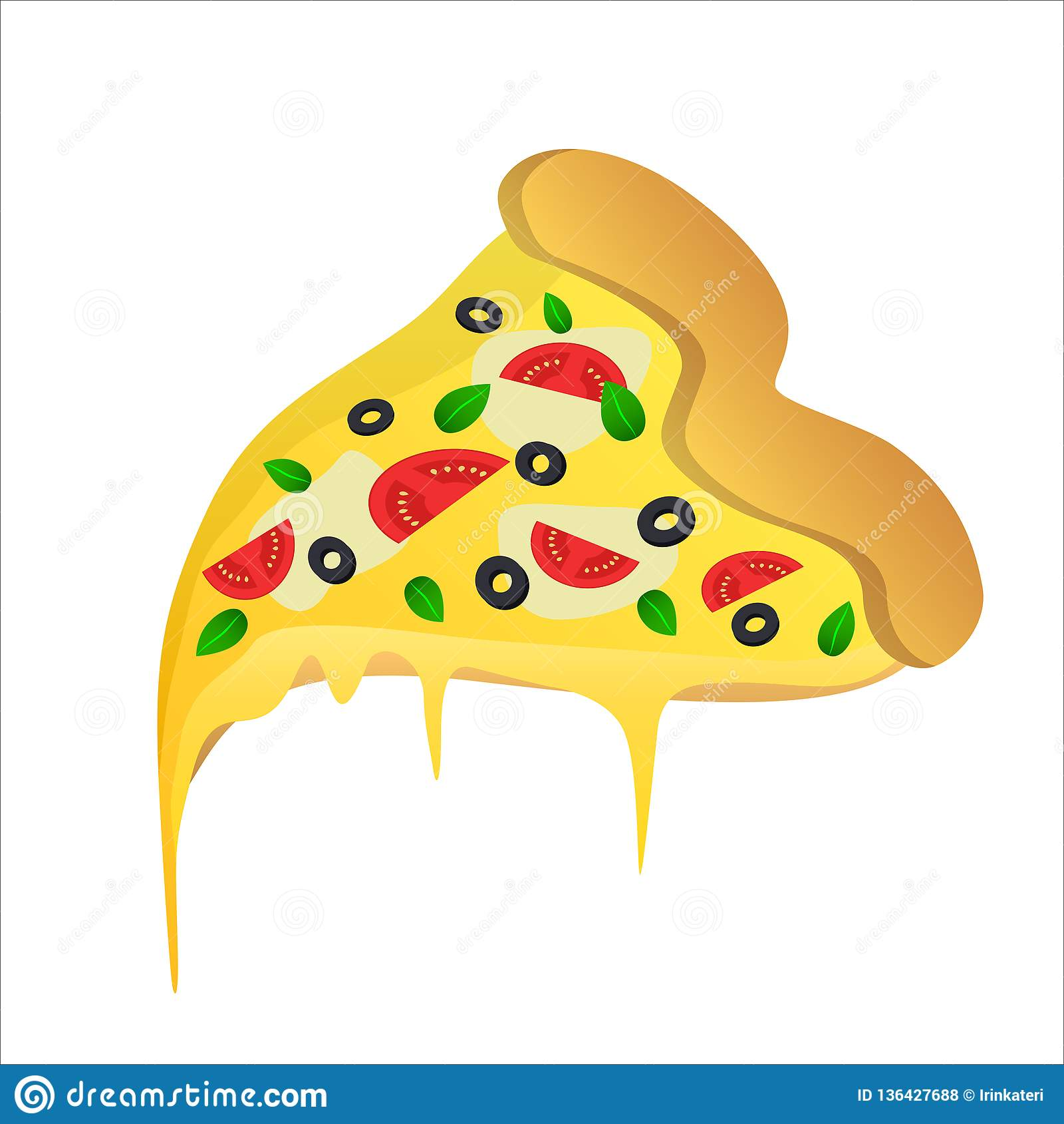 Pedazo de pizza vegetariana con las aceitunas y el queso