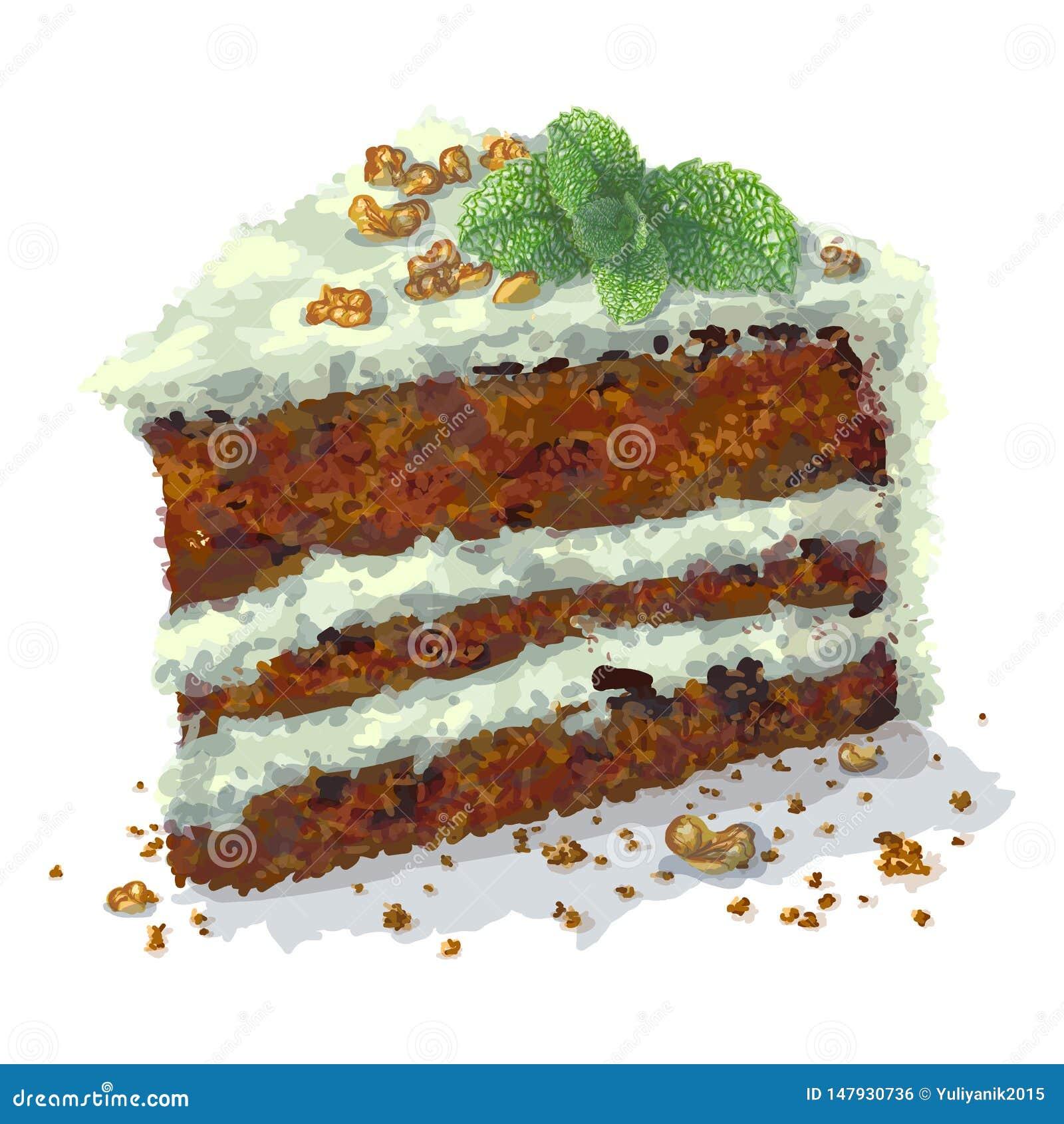 Pedazo de torta del pepermint con las rebanadas de nueces, puntilla del vector de la menta, pasas, capas blandas desmenuzables de