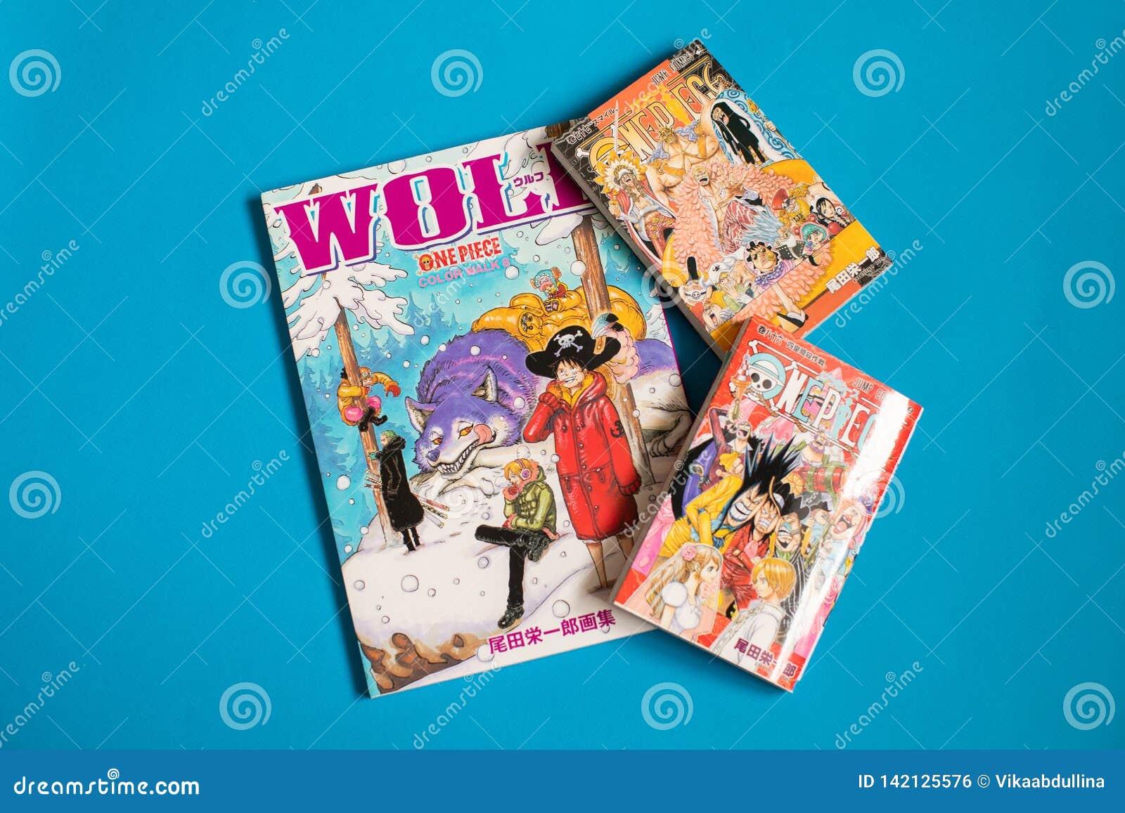 Pedazo japonés de Manga One - cómic publicado en revista semanal del salto de Shonen