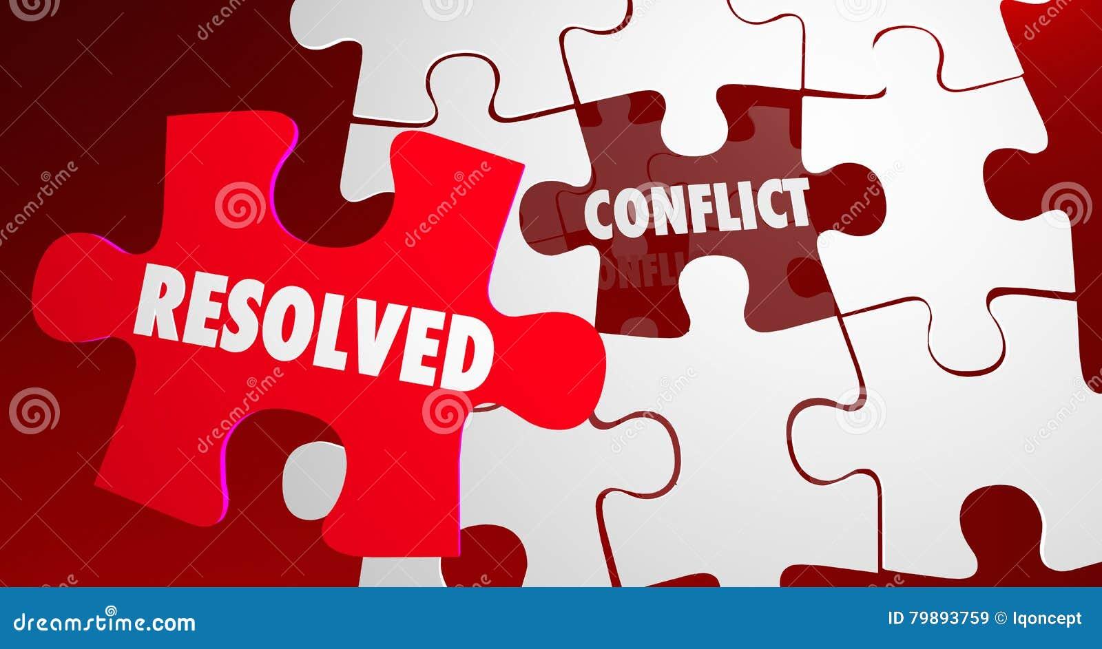 Pedazo resuelto del rompecabezas de la resolución de la lucha del conflicto