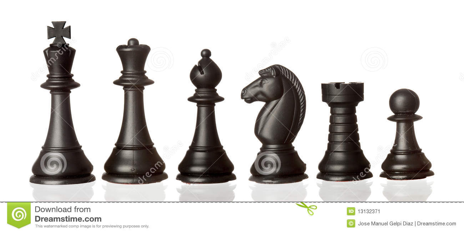 Pedazos de ajedrez negros en la orden de la disminución
