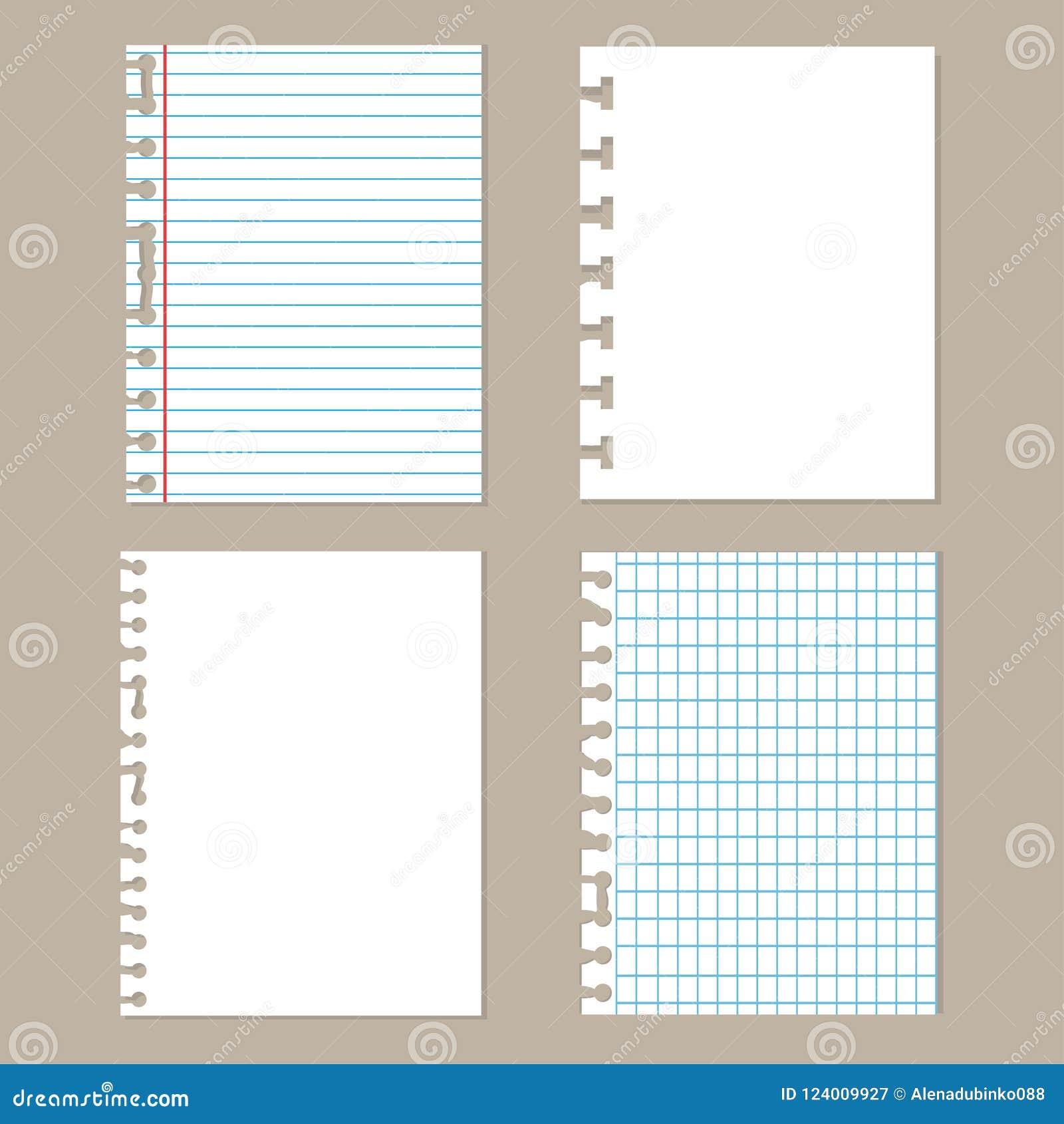 Pedazos de papel rasgado Sistema de diverso papel del cuaderno Hojas de la escuela