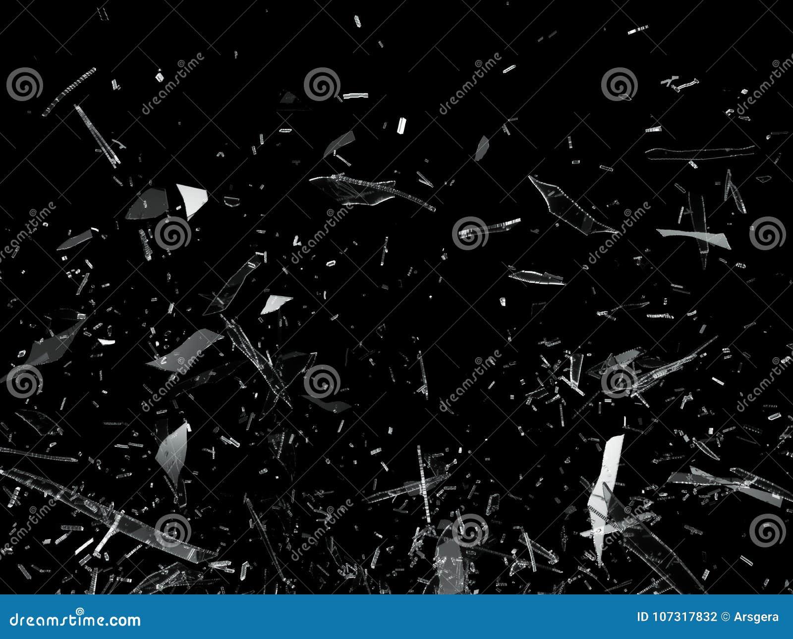 Pedazos de vidrio roto quebrado