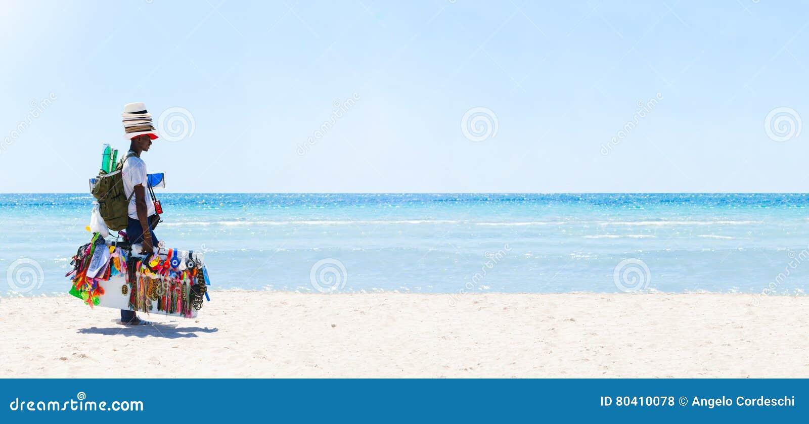 Peddler at the beach. Sea panorama