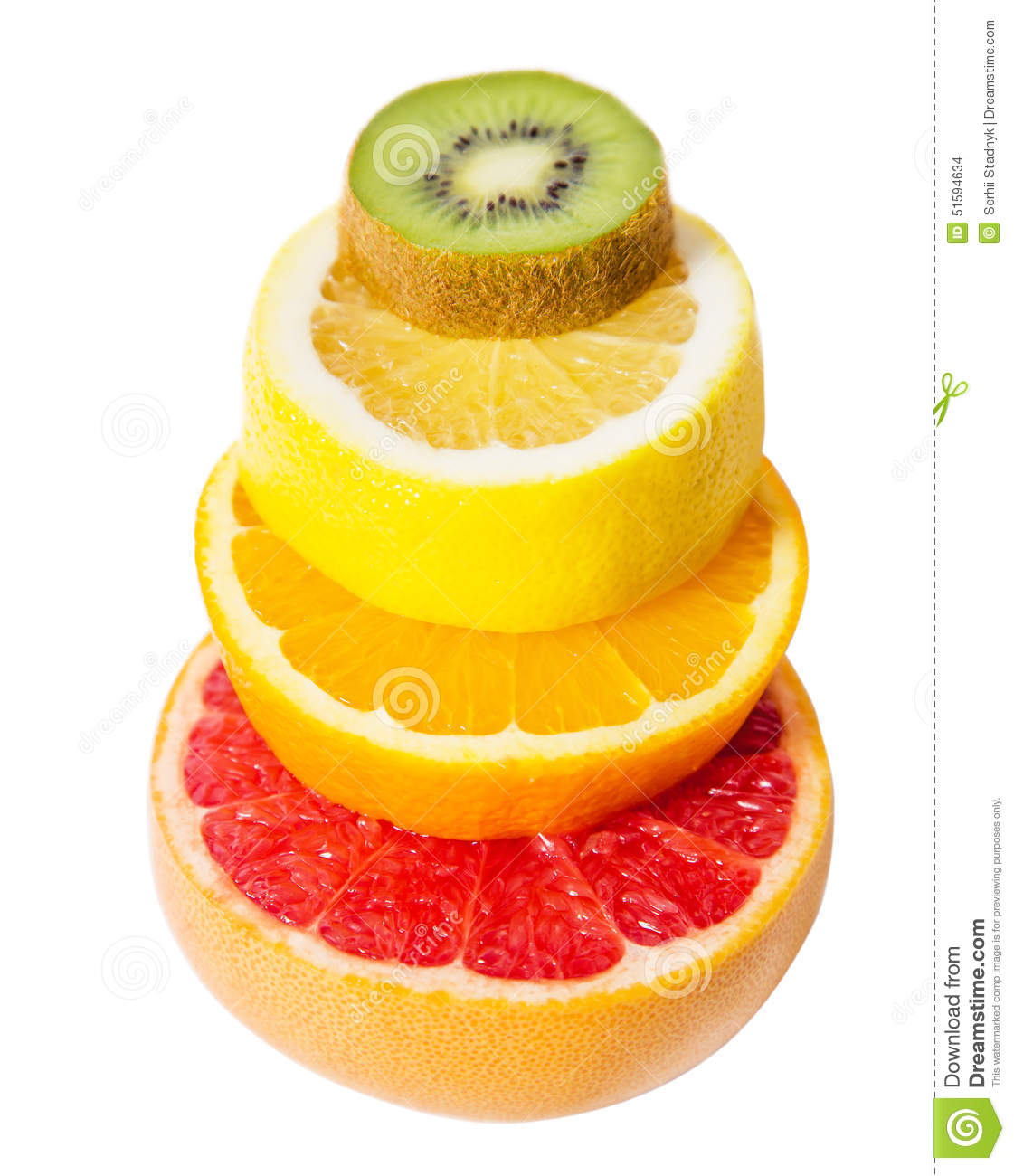The Pedestal Of The Fruits Falling Fruit, Grapefruit, Kiwi ...