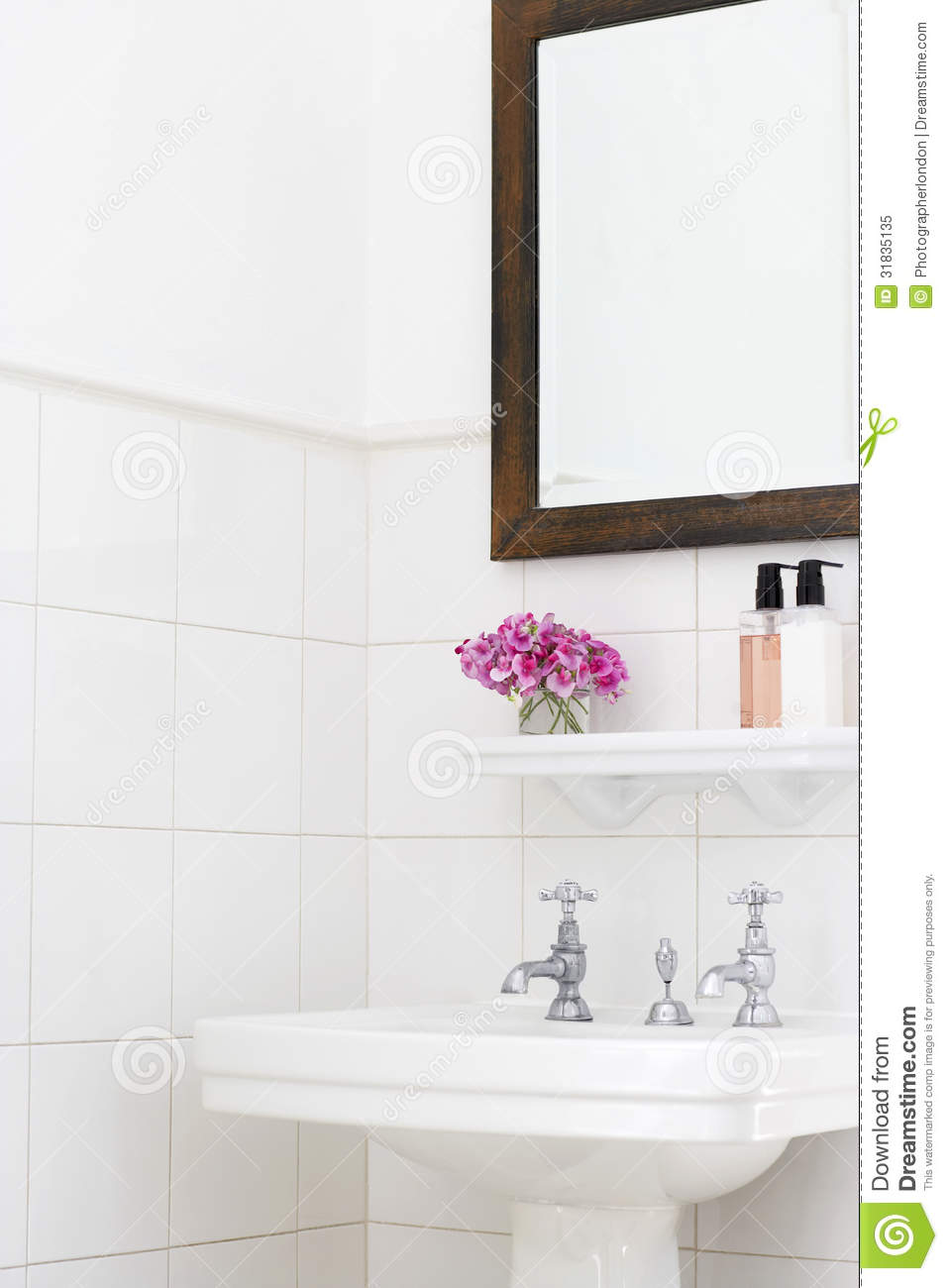 Bathroom Sink And Mirror : Pedestal sink and mirror frame in bathroom.
