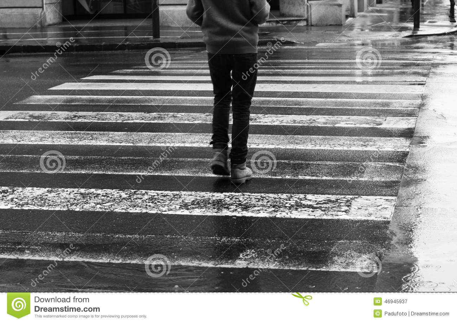 Pedestrian Crosswalk On A Rainy Day