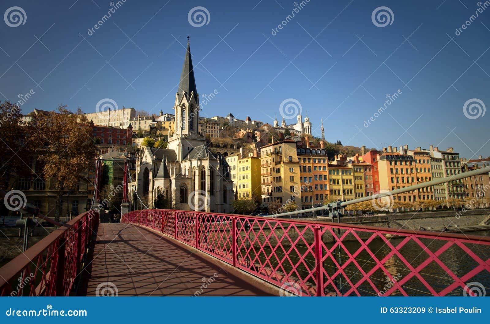 Pedestrian red passerelle St-Georges in Lyon