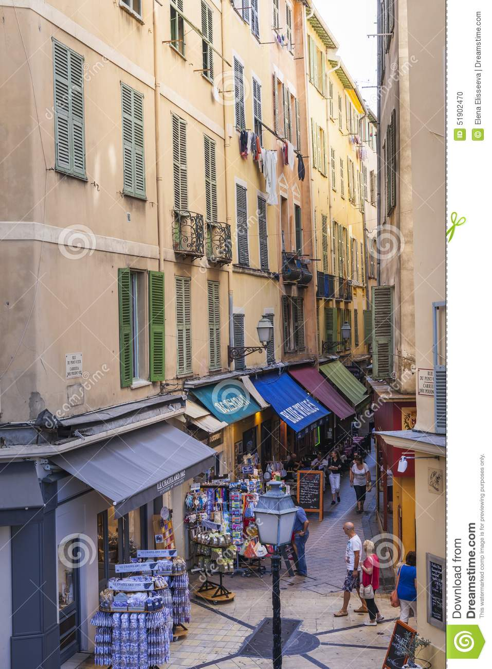 pedestrian shopping street in old nice editorial image image 51902470. Black Bedroom Furniture Sets. Home Design Ideas