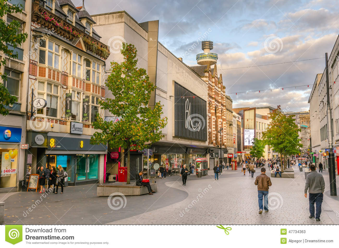 Pedestrian Street Lined With Shops In Liverpool Editorial