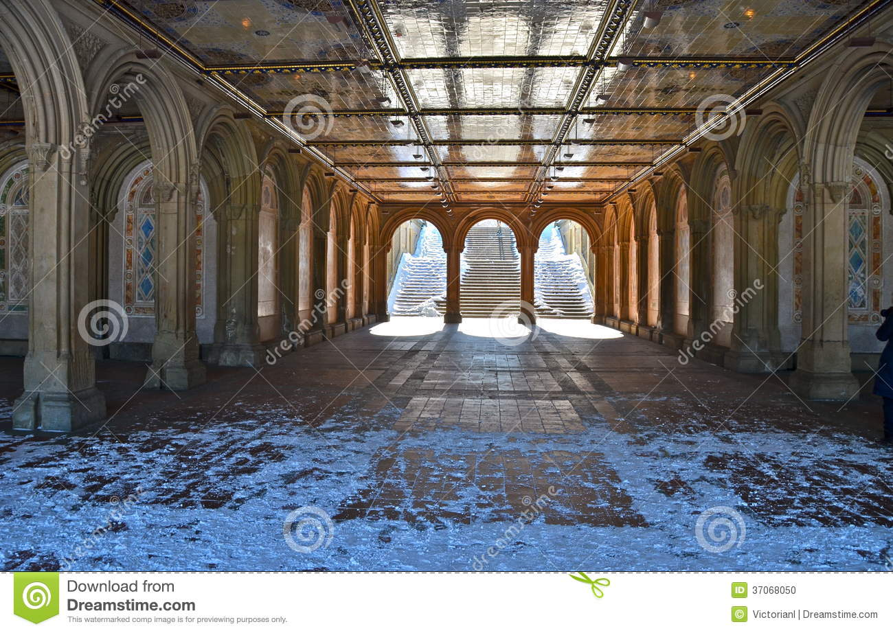 Stock Photo: The pedestrian underpass at Bethesda Terrace, New York ...