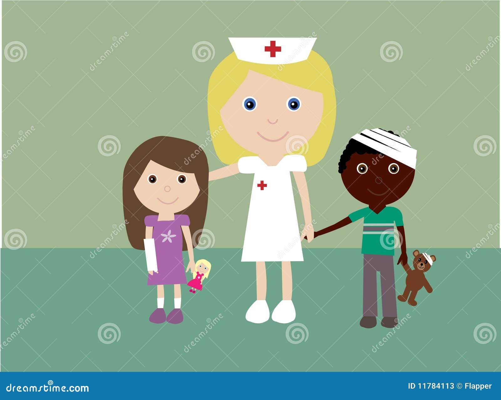 Pediatric Nurse Clipart Pediatric nurse and 2 injured