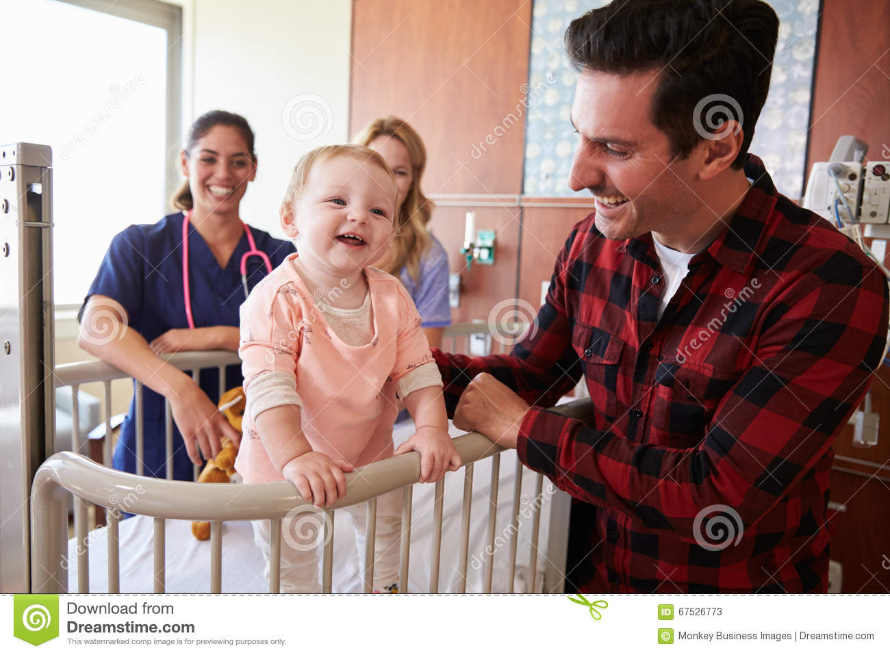 Download Pediatrician Visiting Parents And Child In Hospital Bed Stock Image - Image of parent, consultant: 67526773