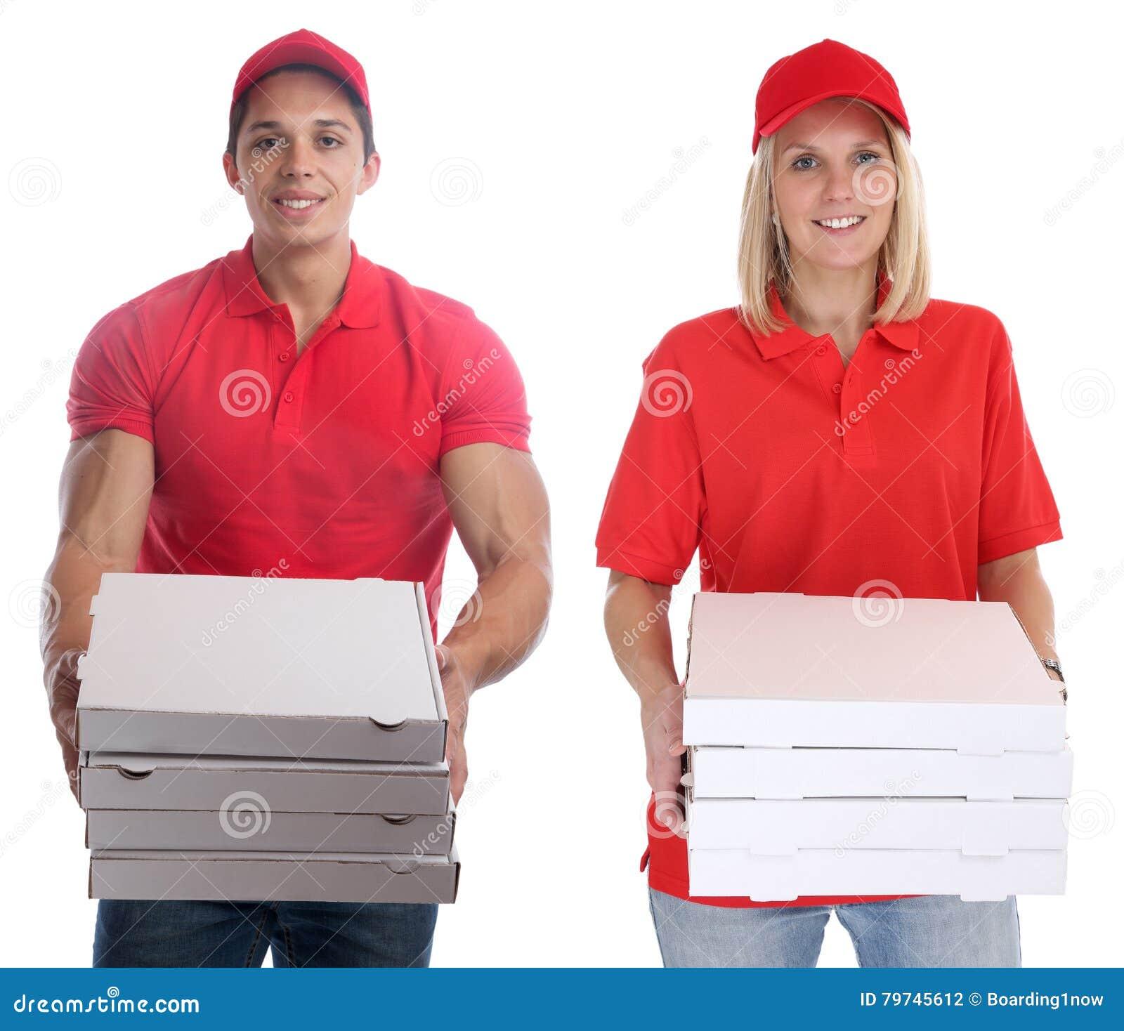 Pedido del hombre de la mujer de la entrega de la pizza que entrega los jóvenes del trabajo aislados
