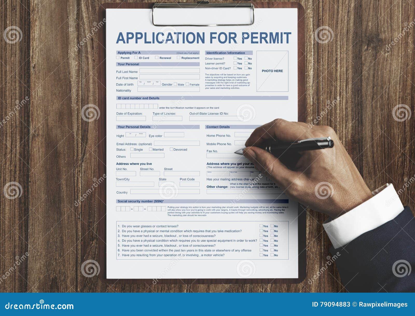 Pedido para o conceito da autoridade do formulário da licença