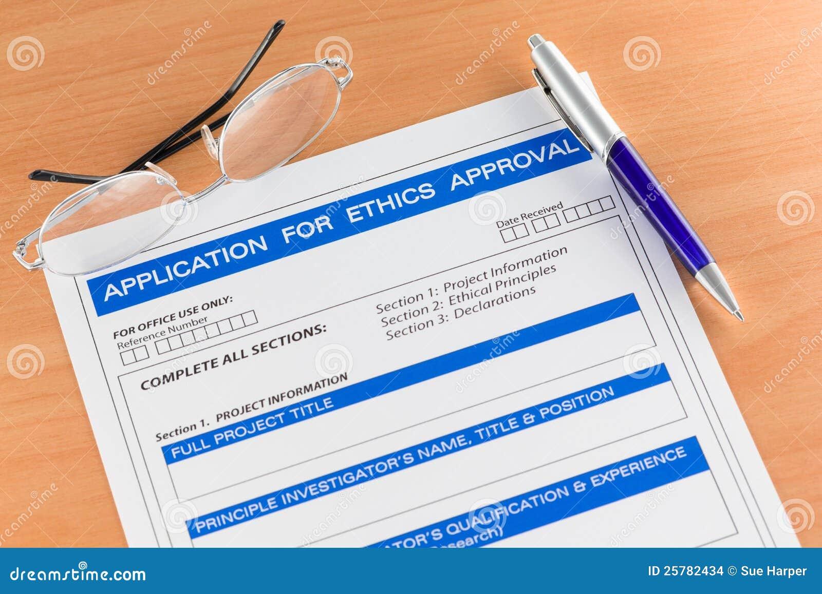 Pedido para o formulário da aprovaçã0 das éticas na tabela