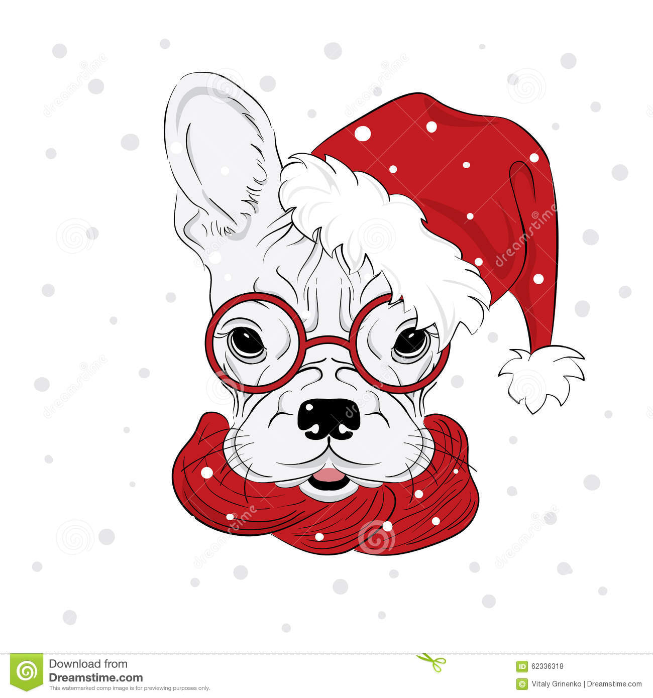 Pedigree Dogs Are Drawn By Hand Dog Vector Dog In Christmas Hat