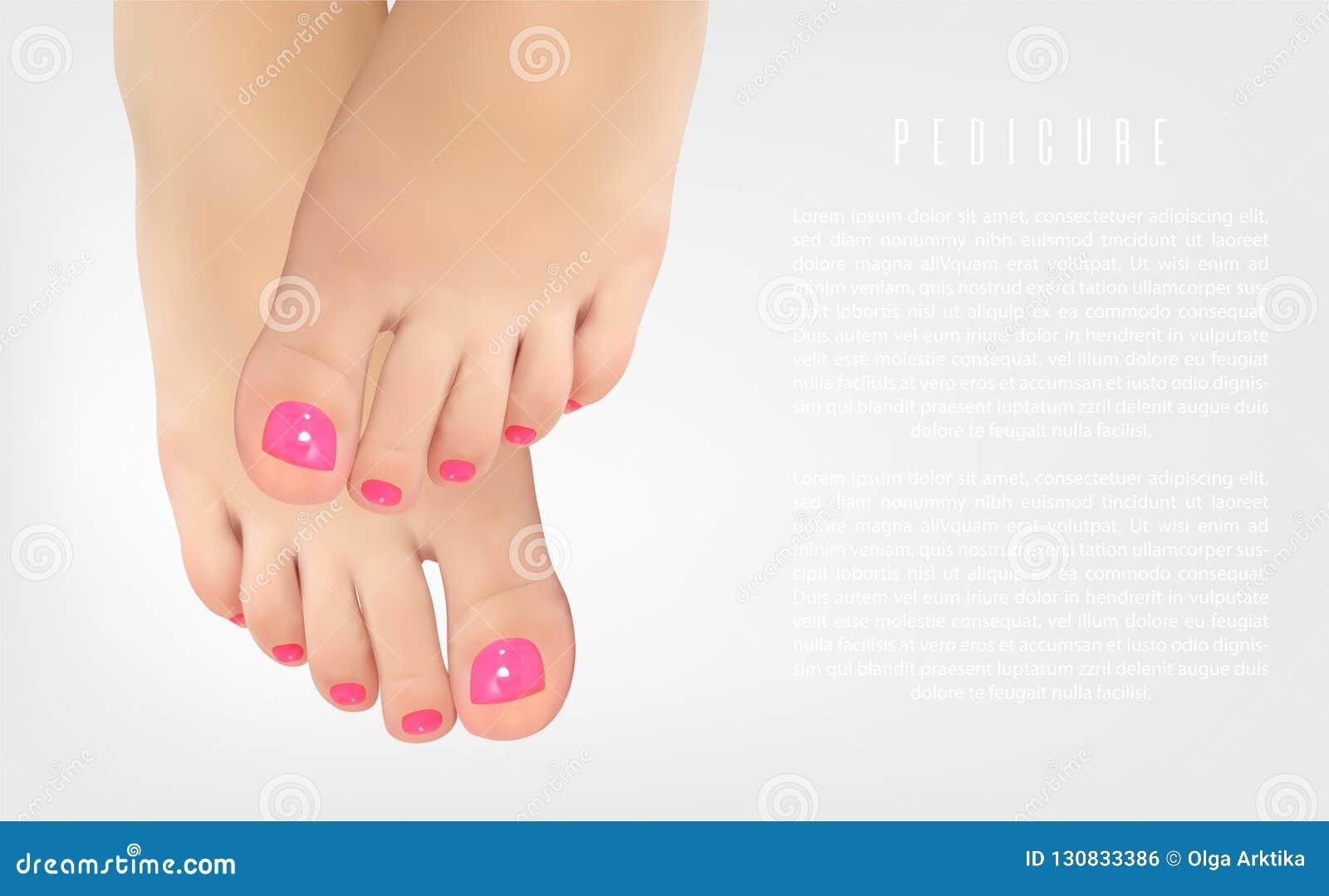 Pedikürekonzeptplakat mit weiblichen Füßen, Schönheitssalon