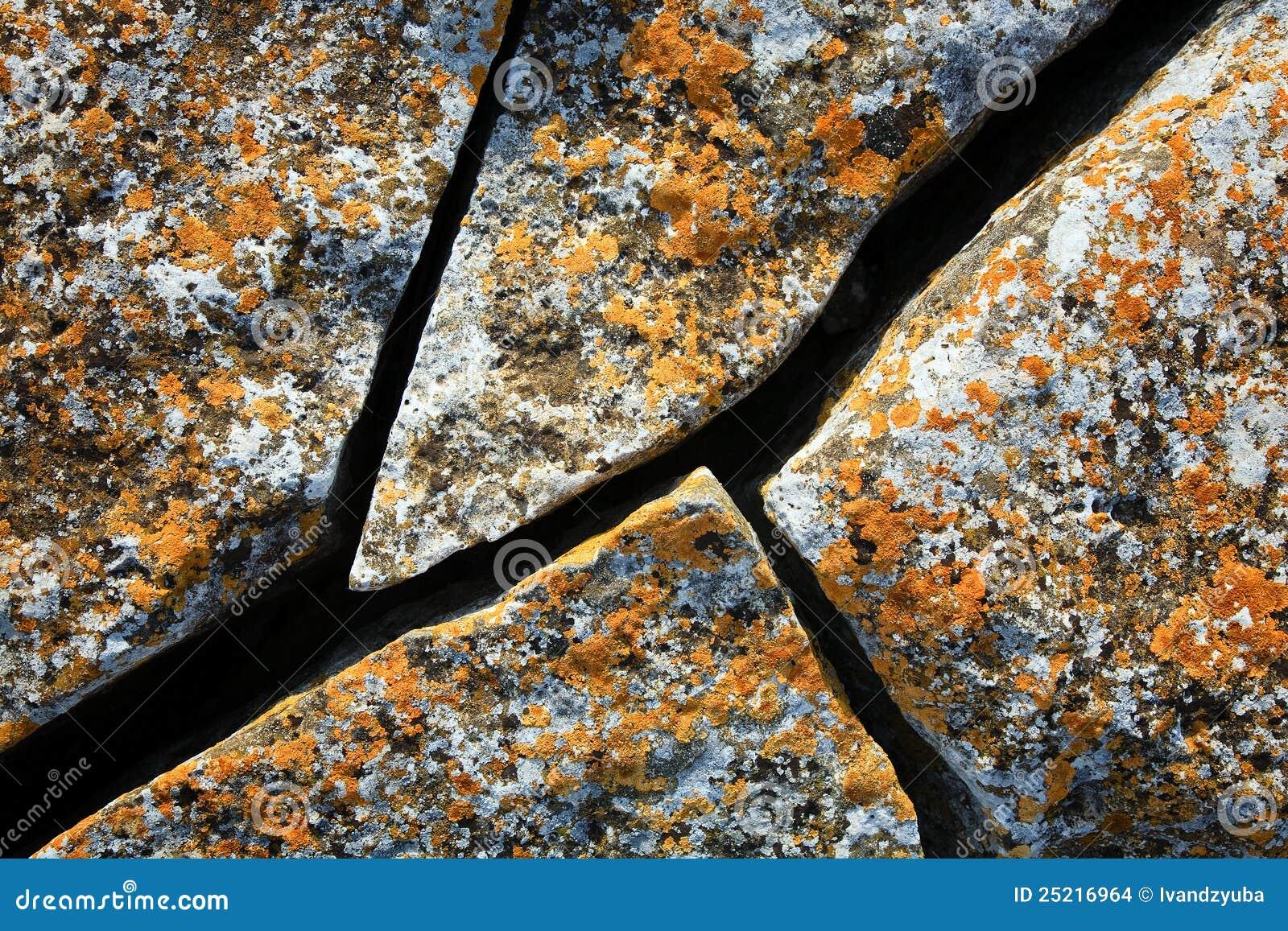 Pedra antiga da rachadura