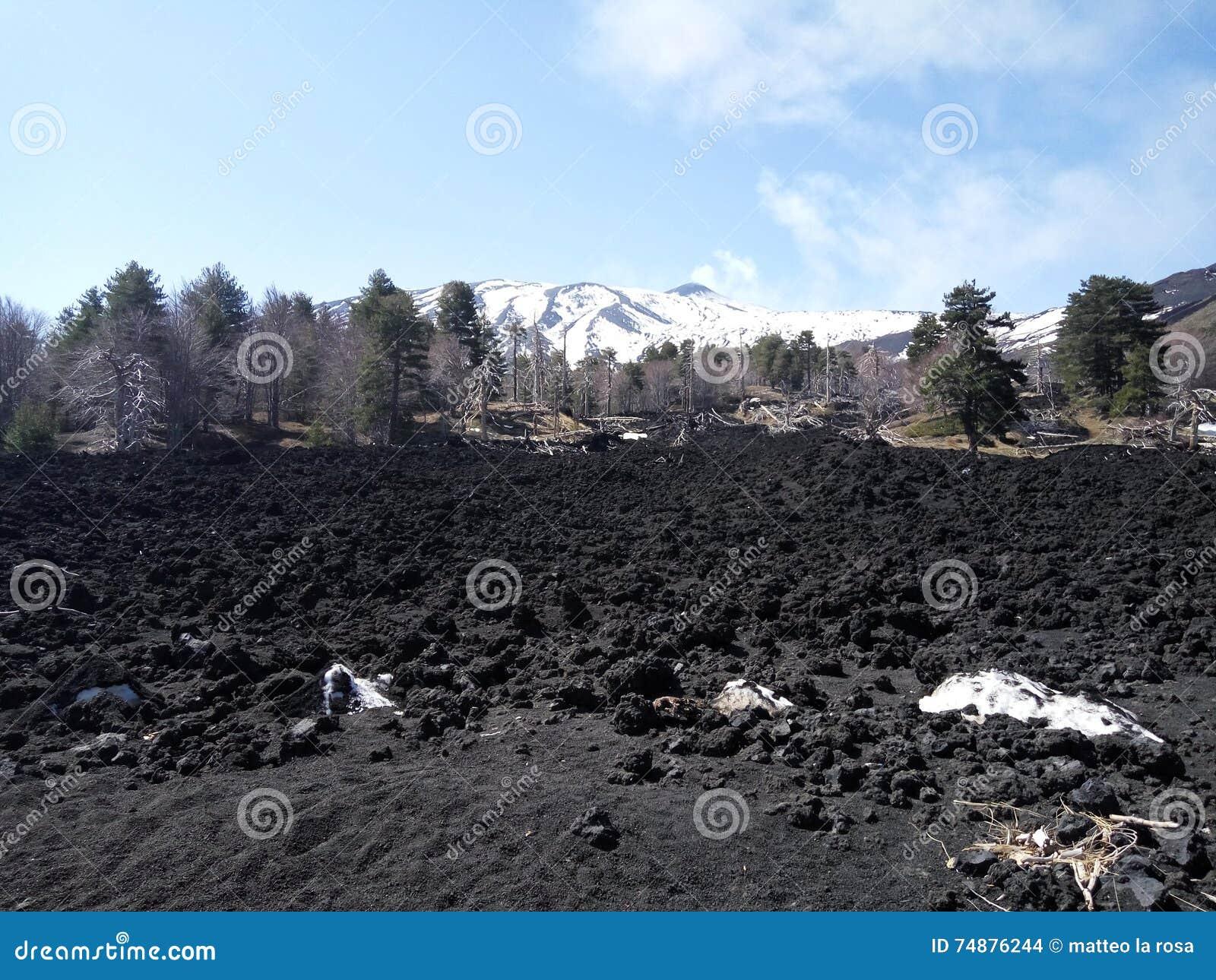Pedra e neve da lava