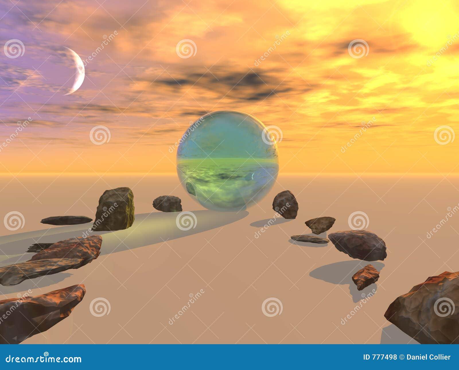 Pedras à esfera de cristal