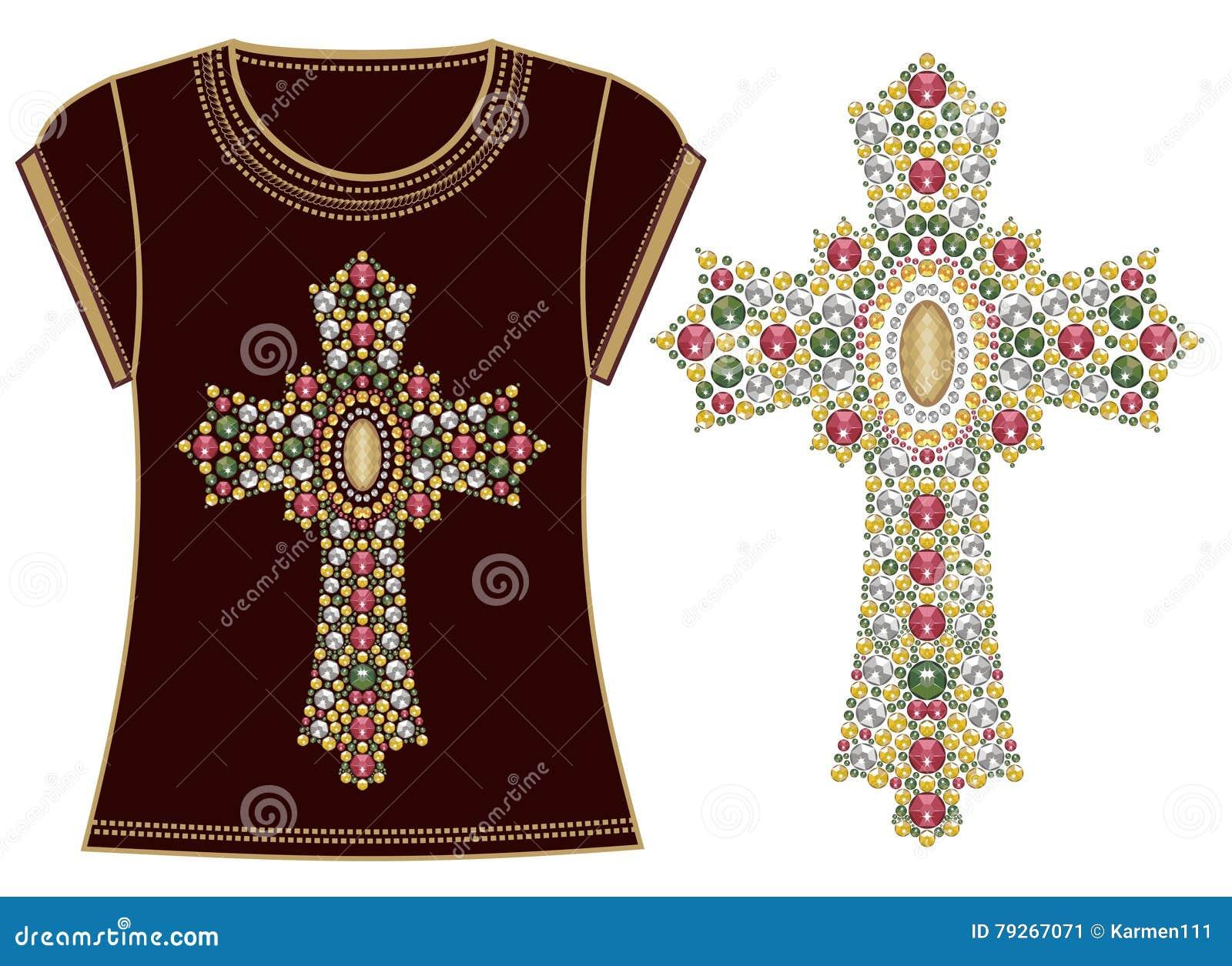 Pedras brilhantes transversais cristãs ornamentado do ouro fêmea bonito de Jesus Christ Vintage do t-shirt da cópia da forma Appl