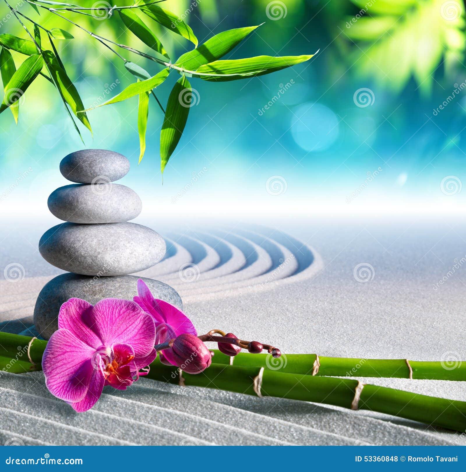 Pedras da areia, da orquídea e da massagem