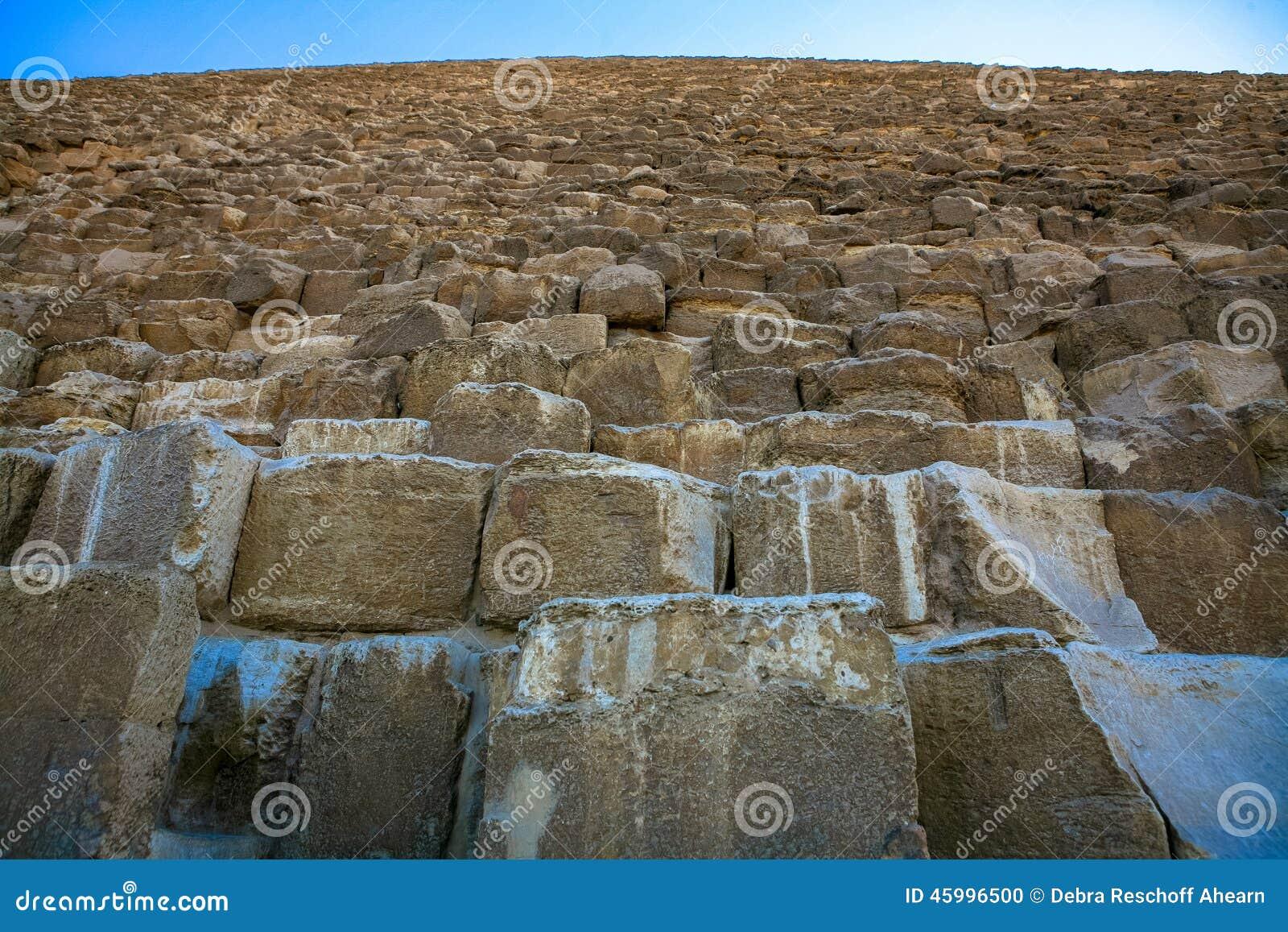 Pedras maciças da grande pirâmide de Giza
