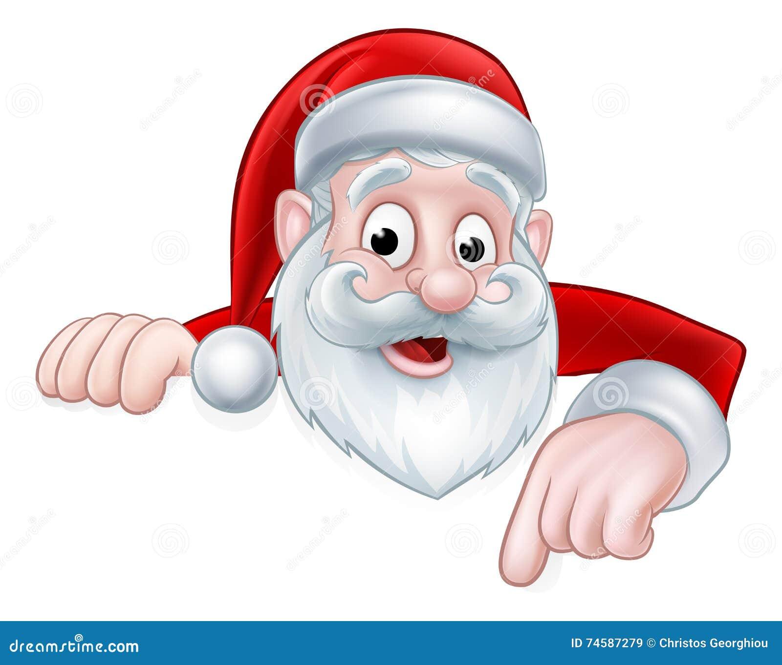 Peeking cartoon santa pointing down stock vector image