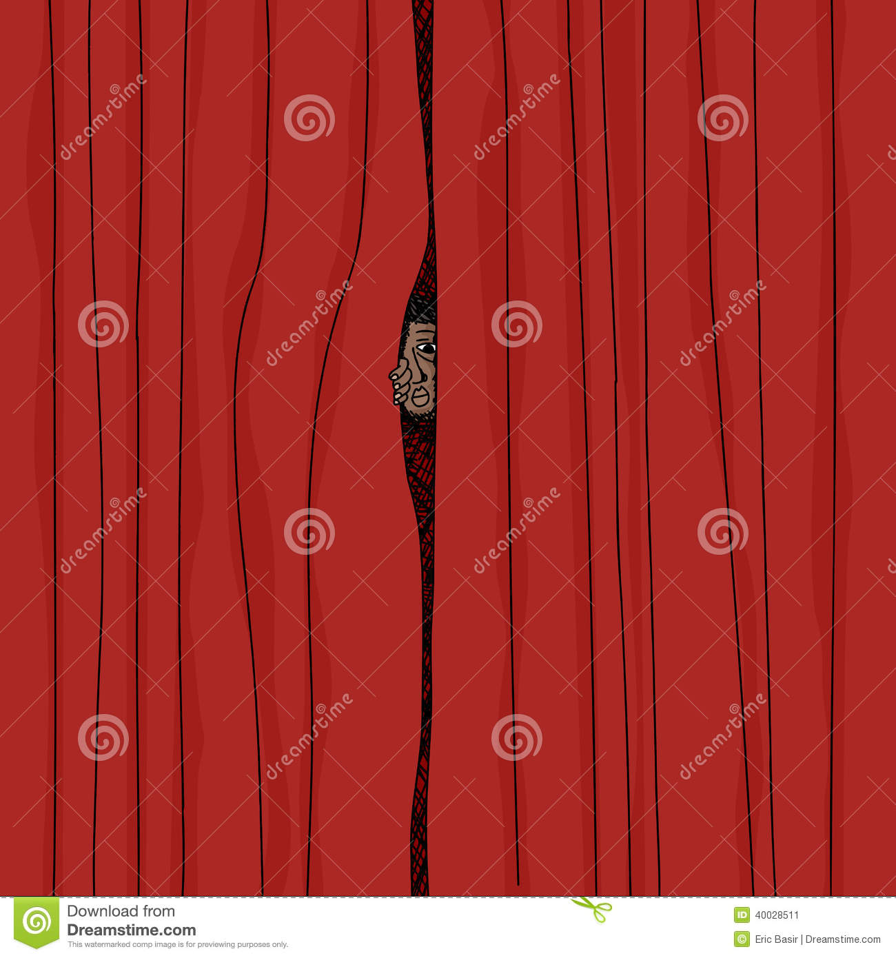 Peeking curtain cartoon man behind red curtains 40028511 jpg