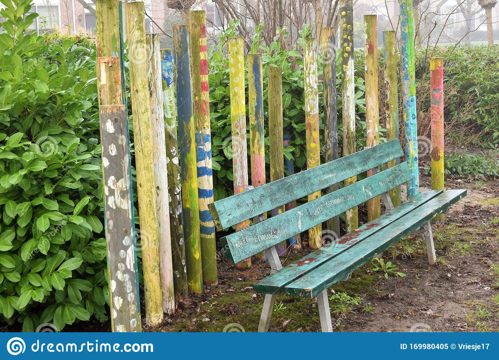 Picture of: Peeled Off Green Wooden Bench With Colourful Poles Stock Image Image Of Bench Paint 169980405