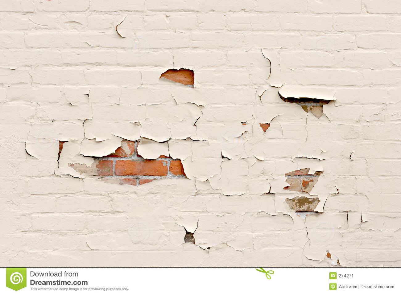 Peeling Paint Over Brick Wall Stock Image Image 274271