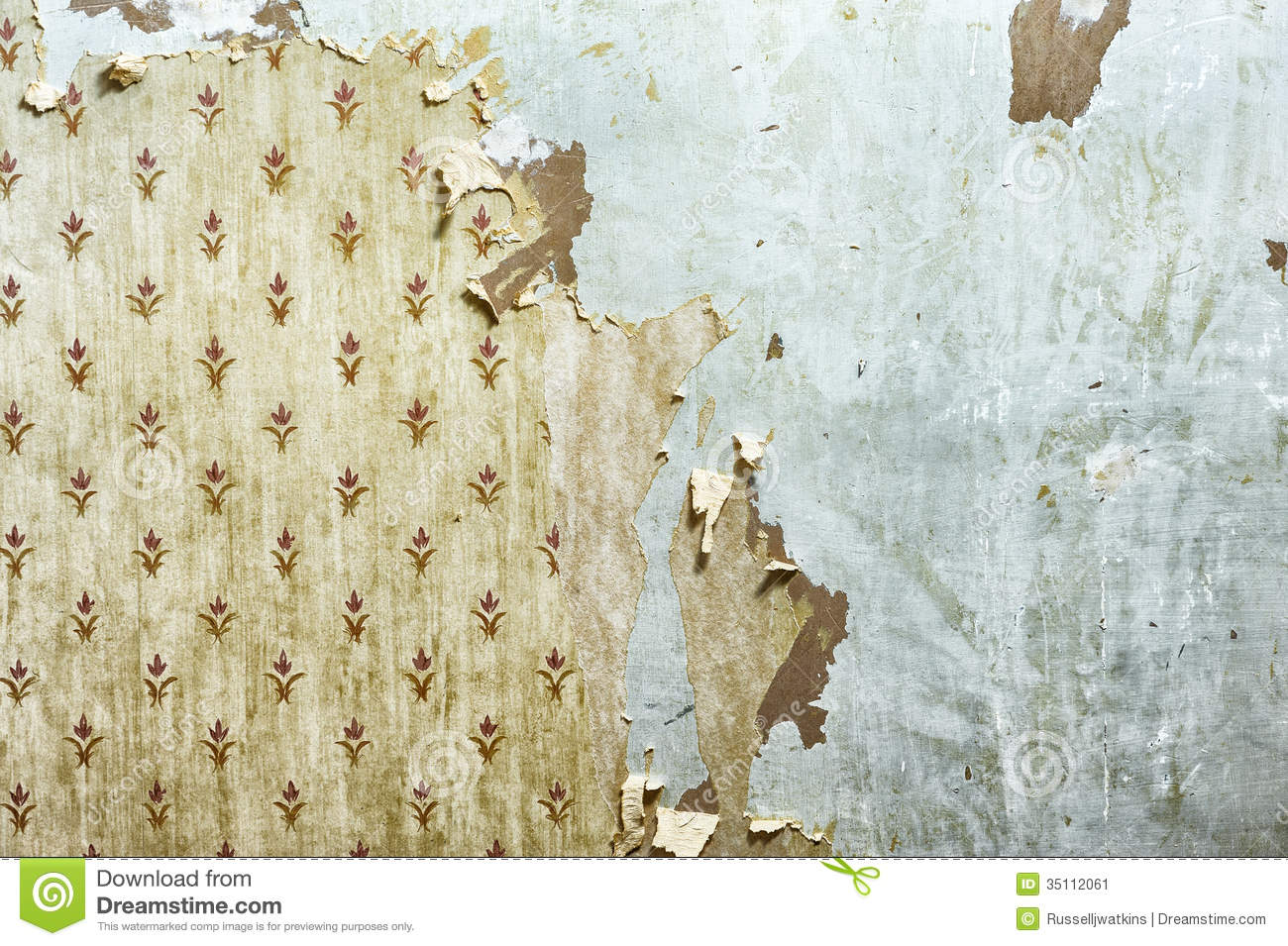 Peeling wallpaper on drywall stock image image of for Wall to wall wallpaper