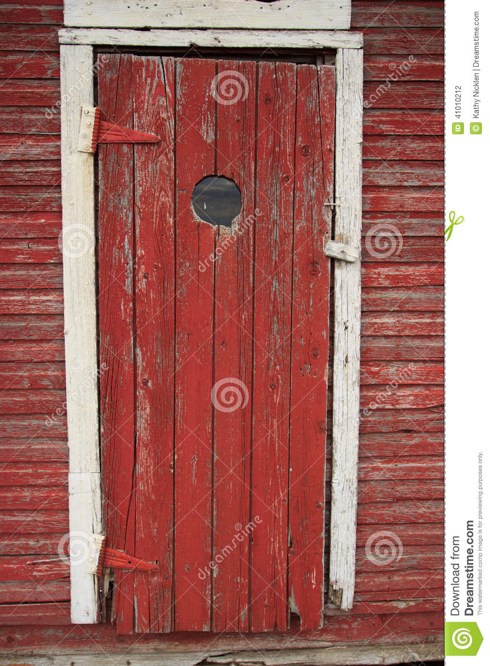 Peep Hole In Old Red Door Stock Photo Image Of High