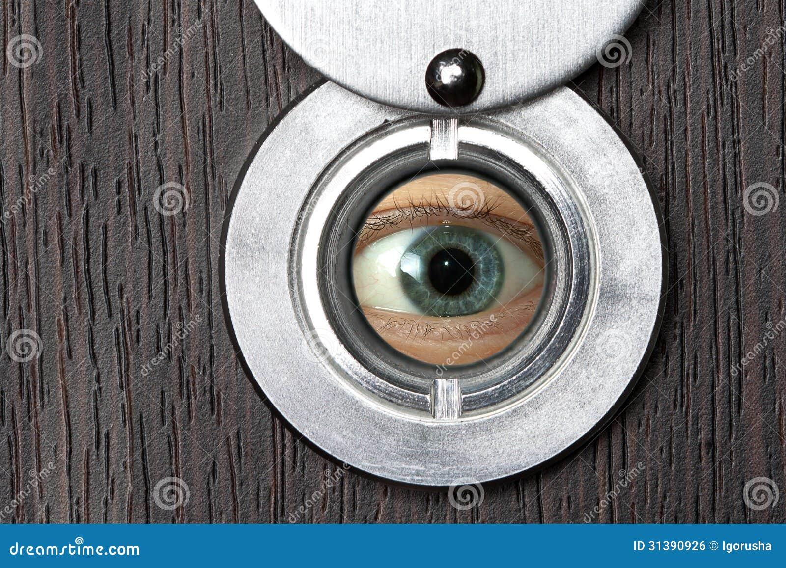 Peephole com olho horizontalmente