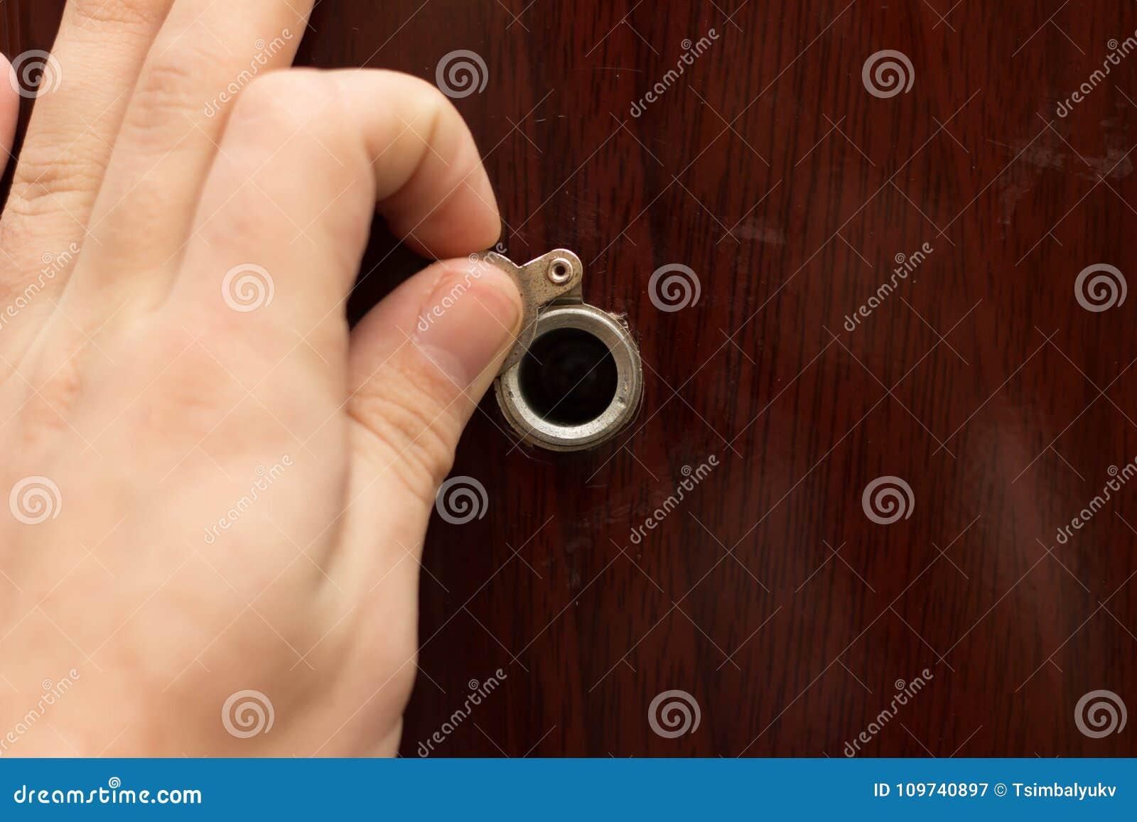 Superior Peephole On Wooden Door   Judas Hole Stock Image   Image Of Look, Care:  109740897
