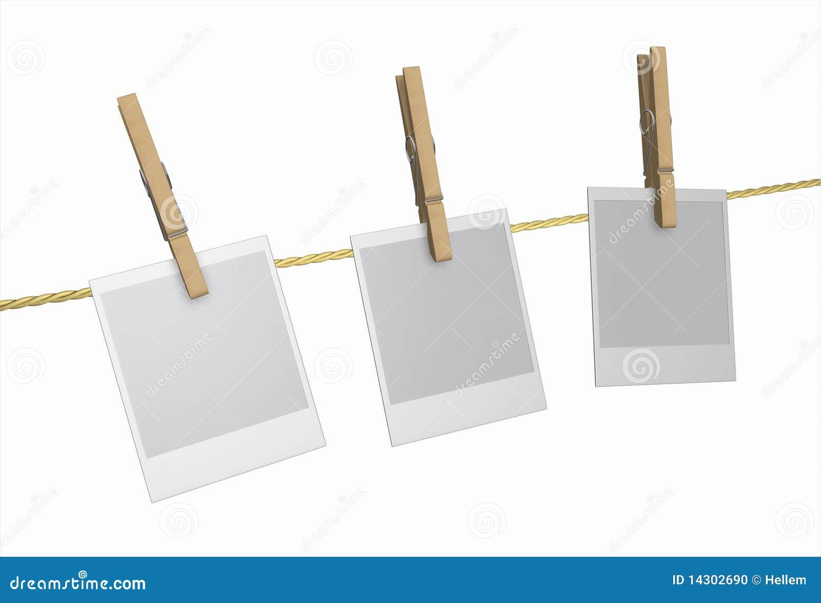 Peg wood clothespin and polaroid isolated stock photo - Epingle a linge ...
