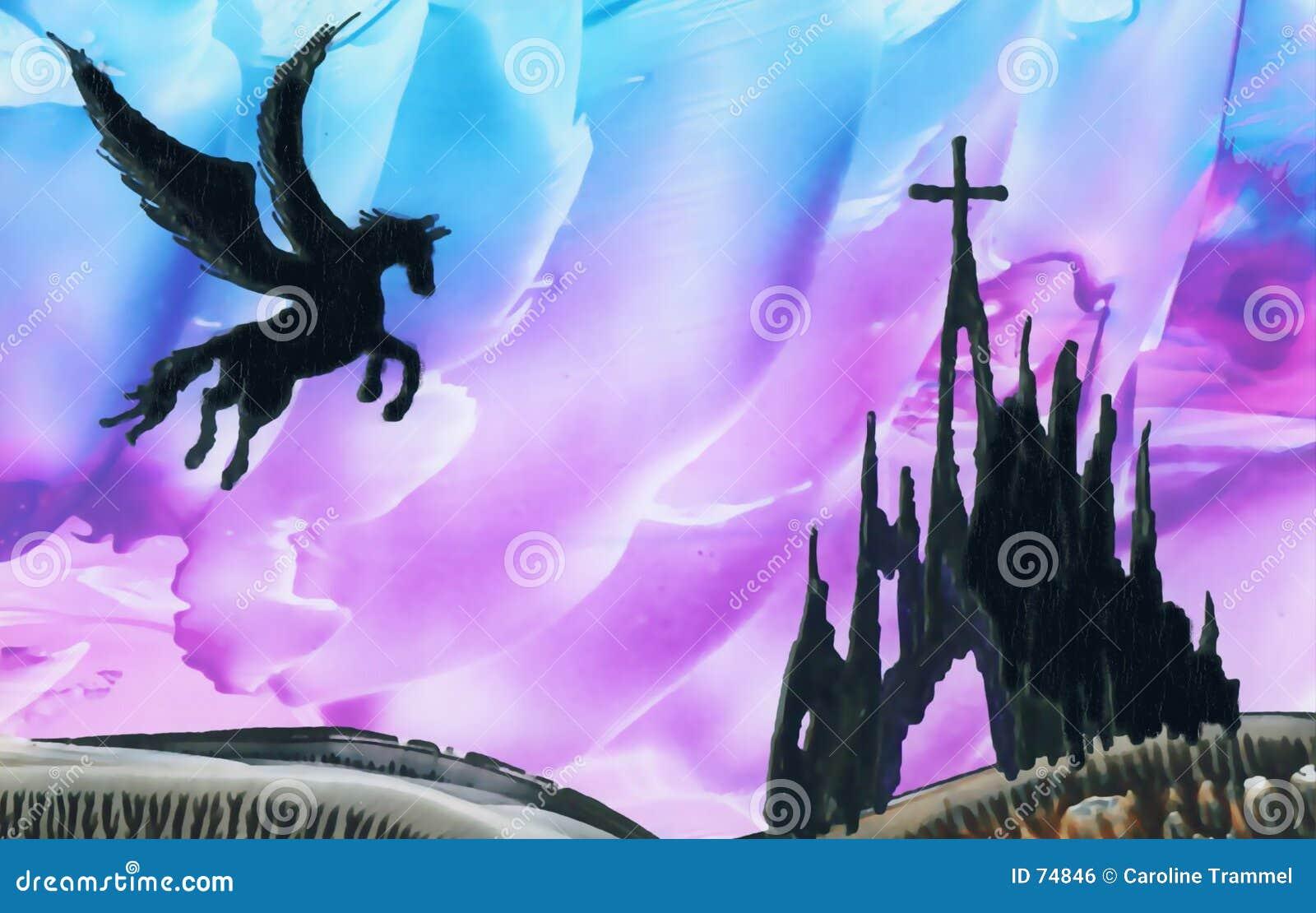 Pegasus boven ruïnes