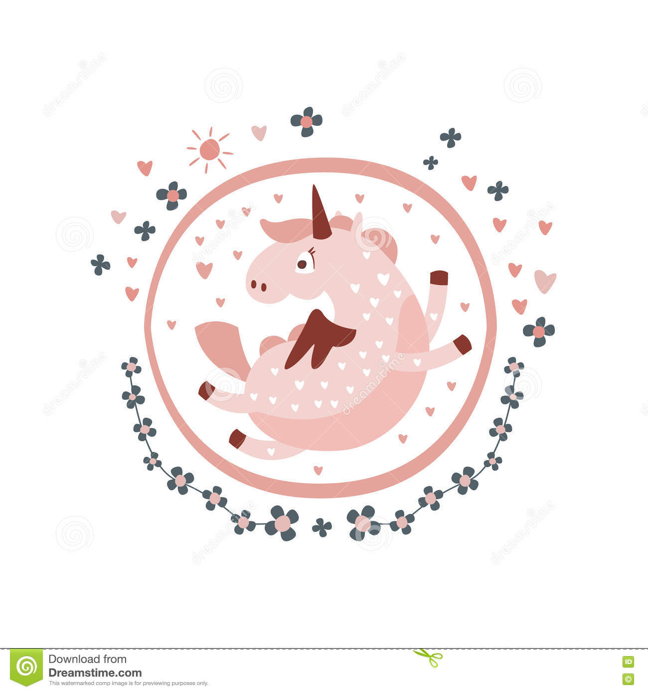 Pegasus Fairy Tale Character Girly Sticker In Round Frame Stock ...