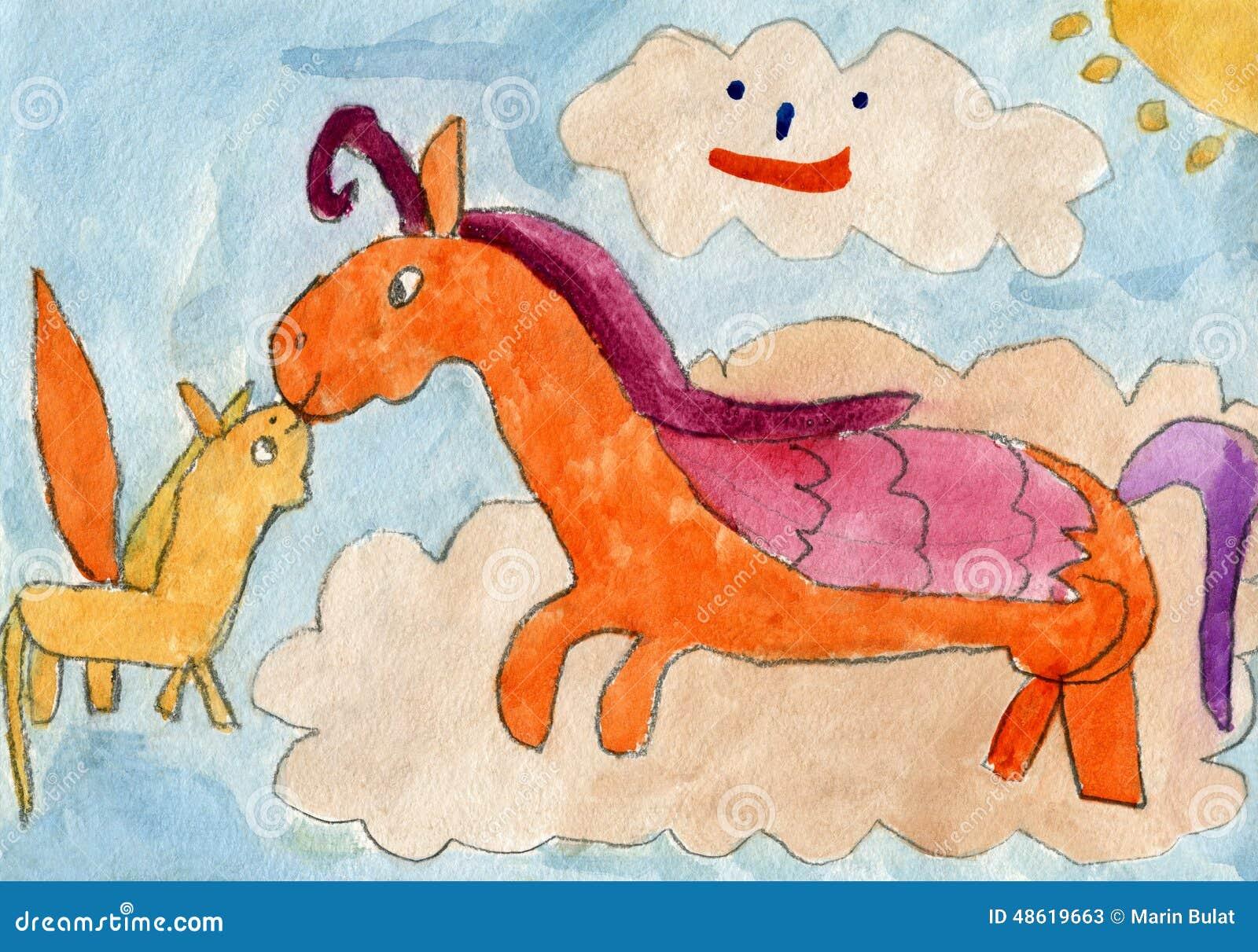 Pegasus mother horse kissing his foal