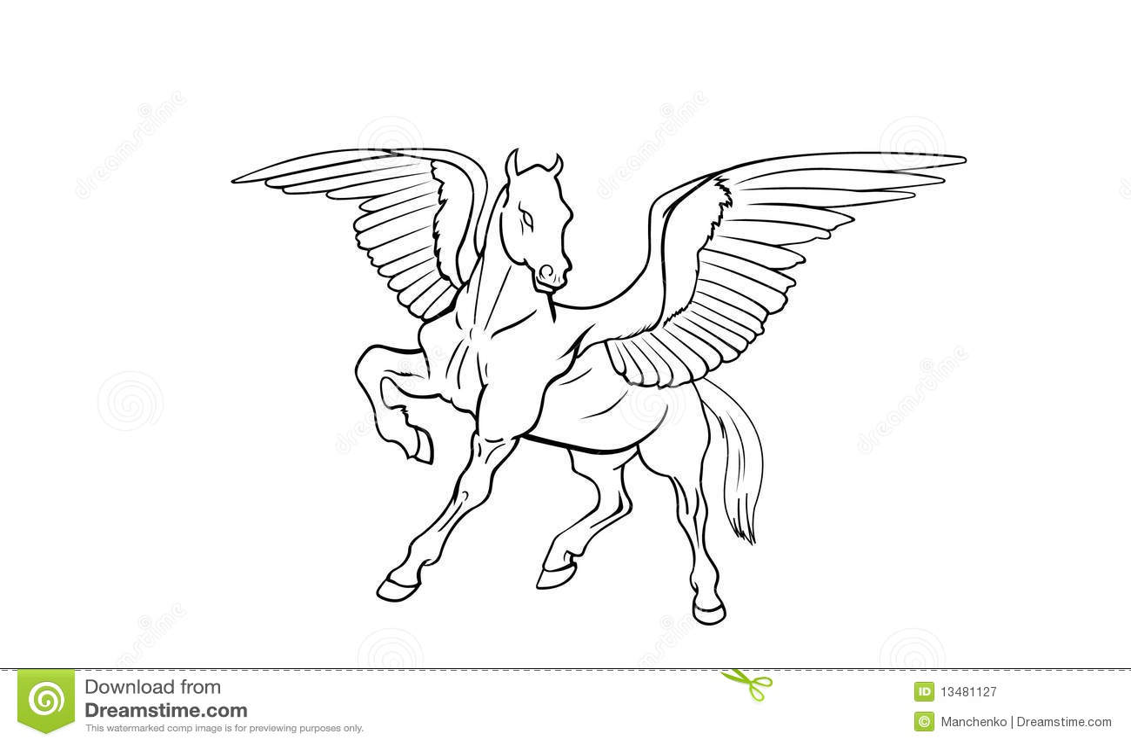 pegasus side view stock vector  image of power  mythology