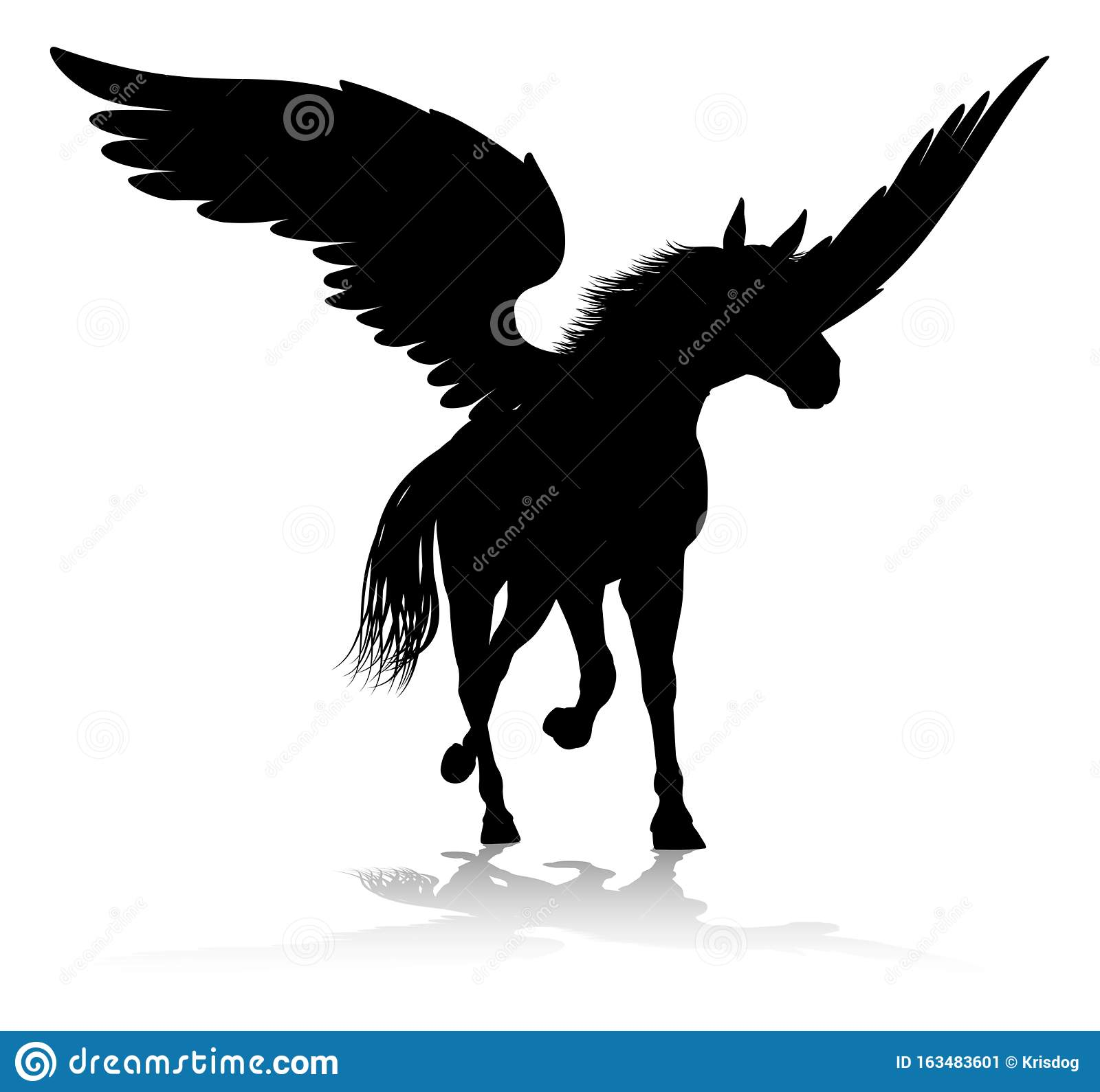 Pegasus Silhouette Mythological Winged Horse Stock Vector ...