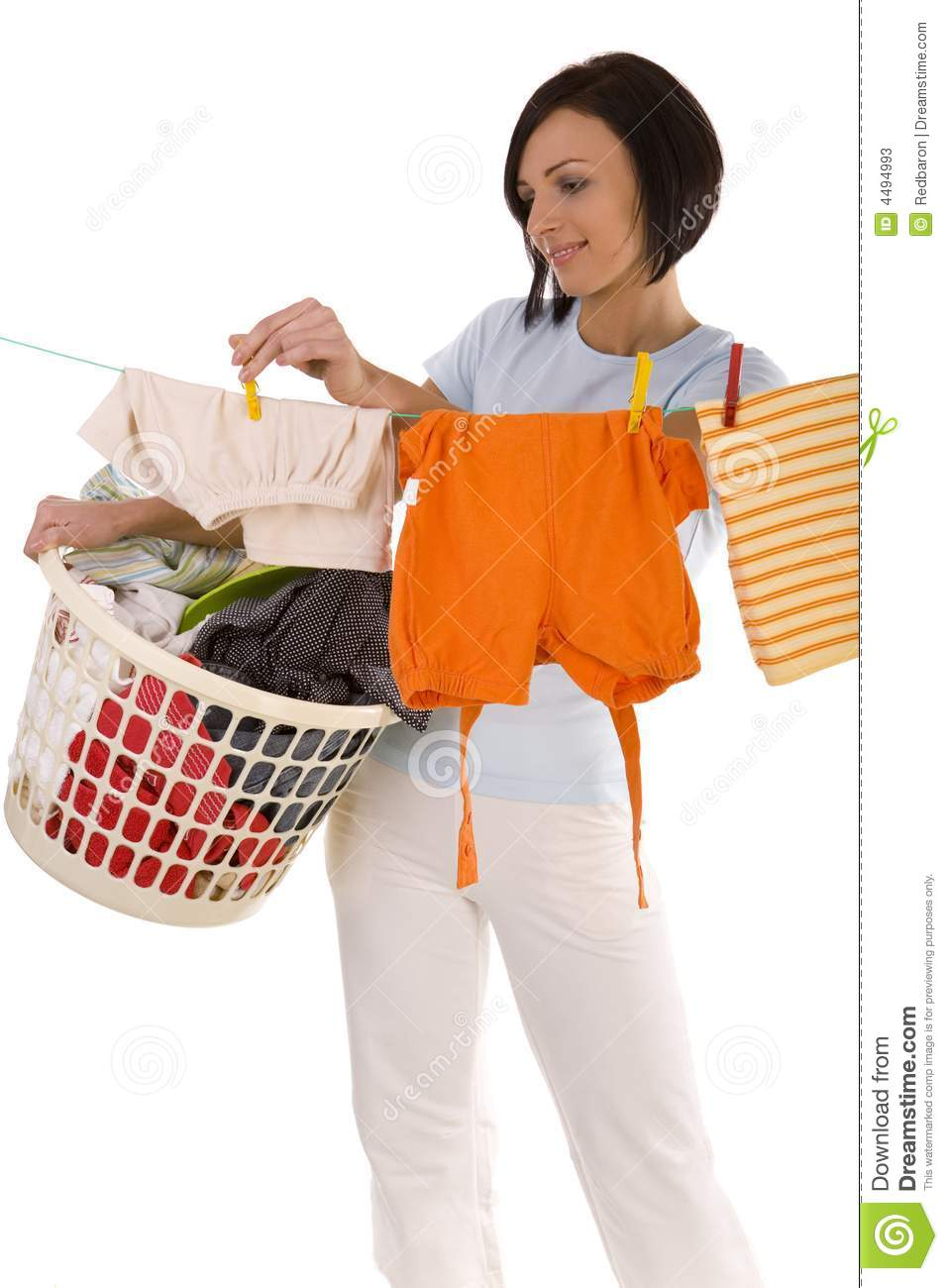 Pegging Clothes On Line Stock Photos Image 4494993