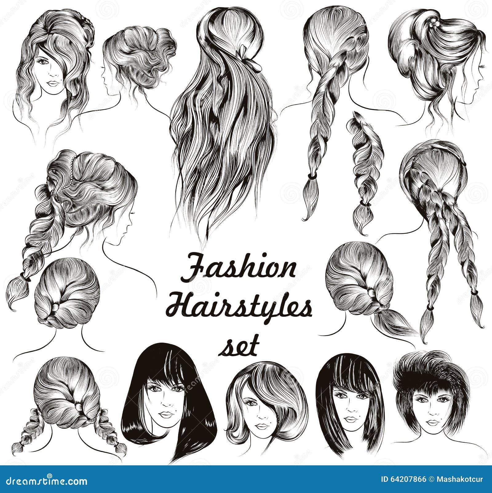 Peinados femeninos del ejemplo de la moda diversos fijaron en grabado