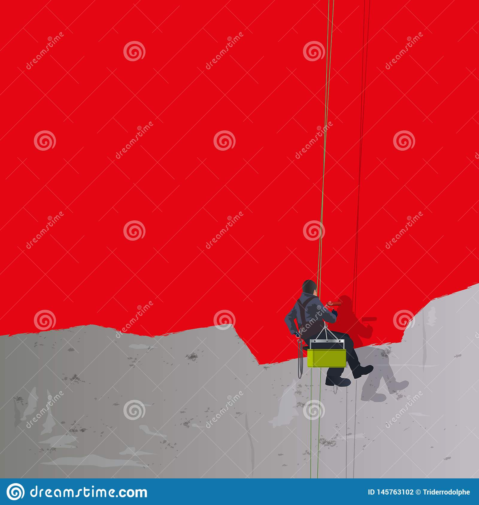 Red background with a house painter repainting a concrete wall.
