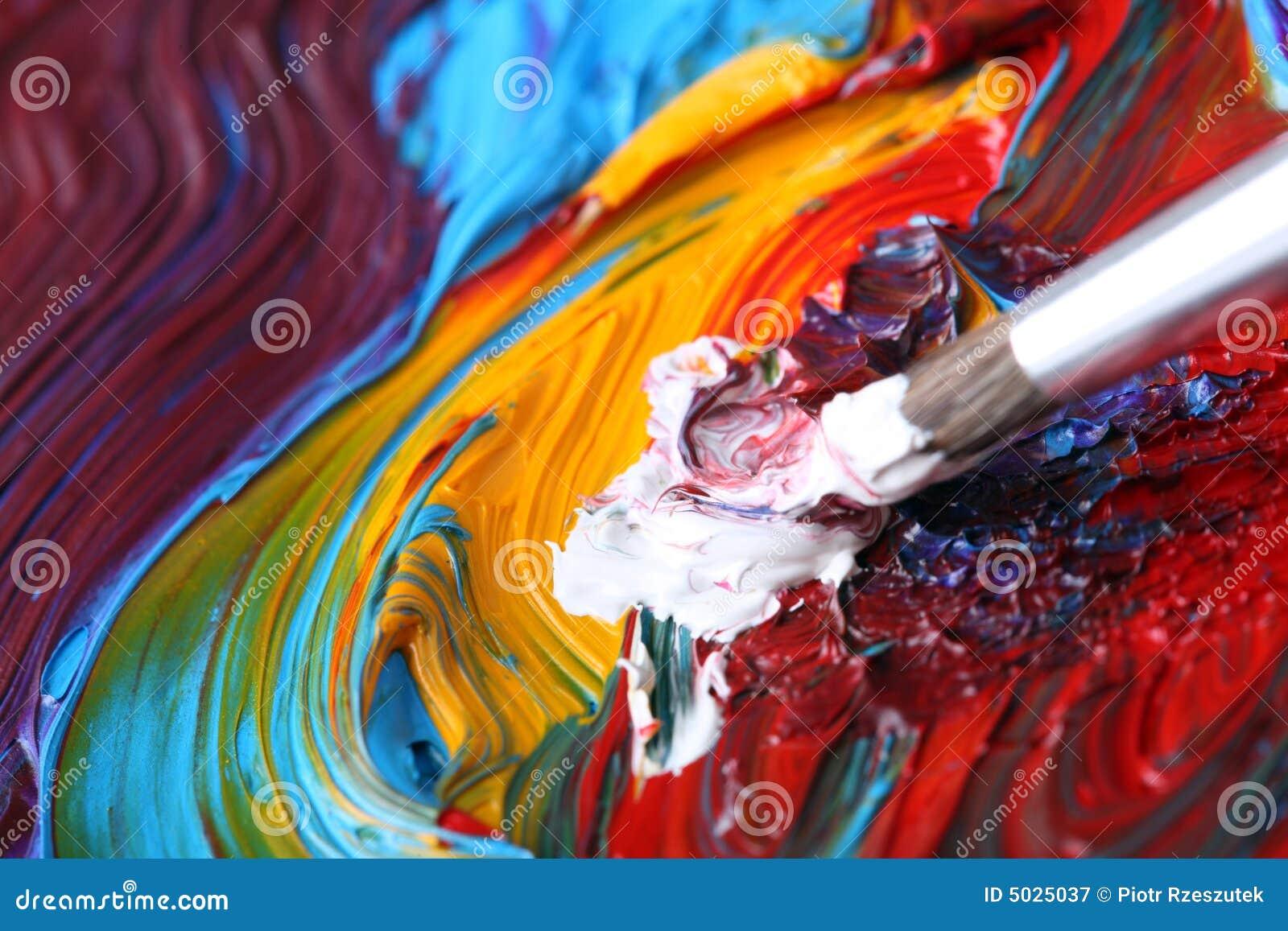 Bien-aimé Peinture à L'huile Mélangée Avec Le Pinceau Illustration Stock  DV12