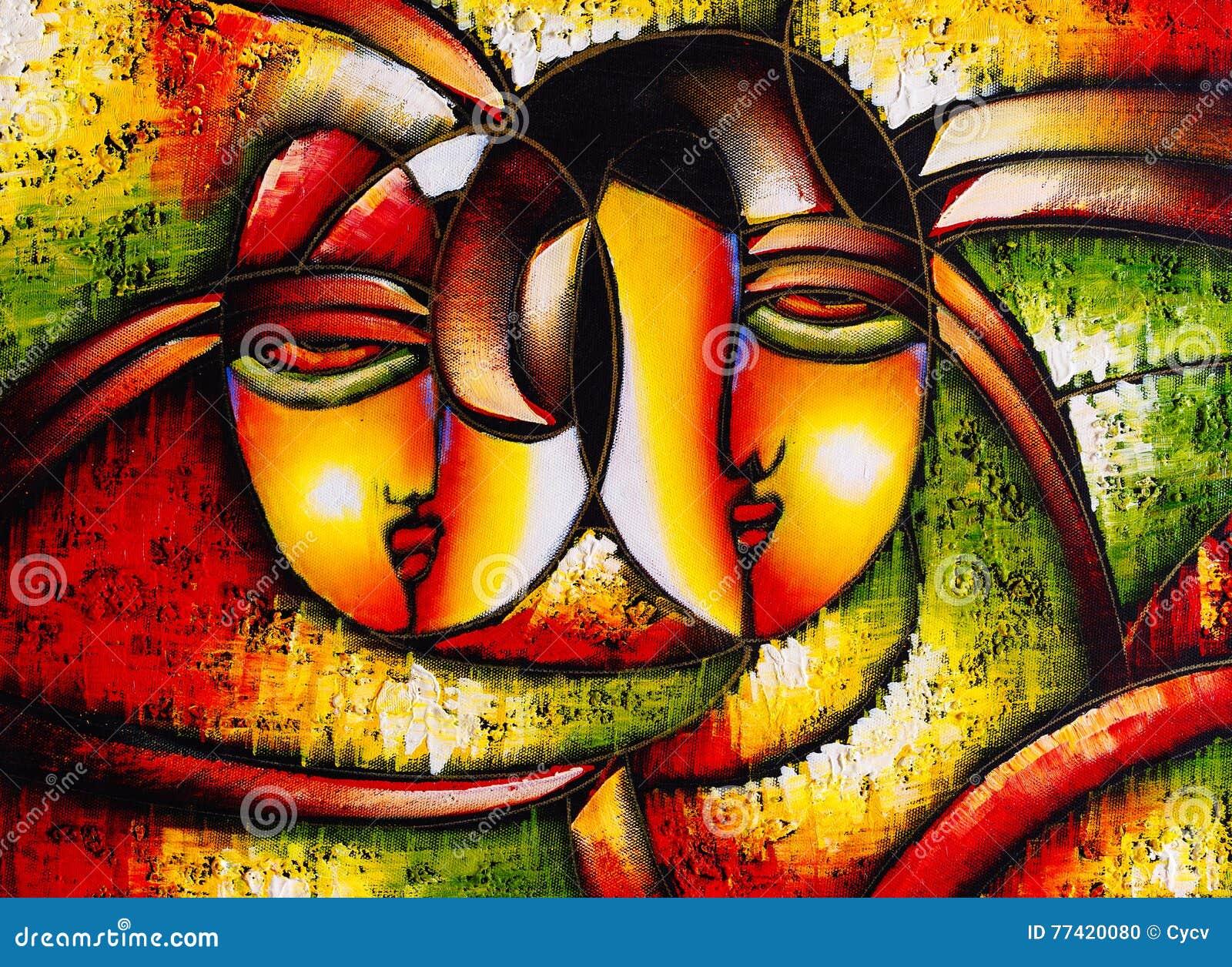 Bien-aimé Peinture à L'huile - Visage Abstrait Illustration Stock - Image  PF71